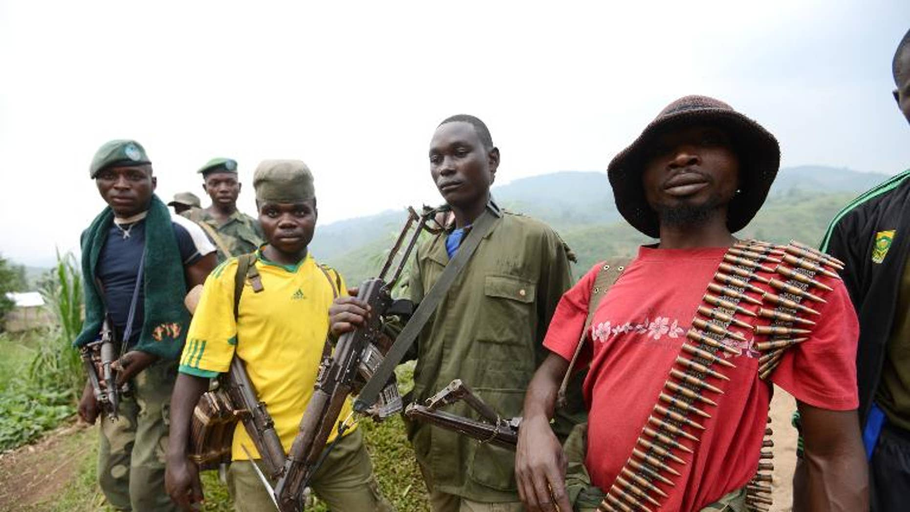 Members of the APCLS (Alliance of Patriots for a Free and Sovereign Congo) paramilitary group take part in a meeting in the village of Nyabiondo on July 26, 2013