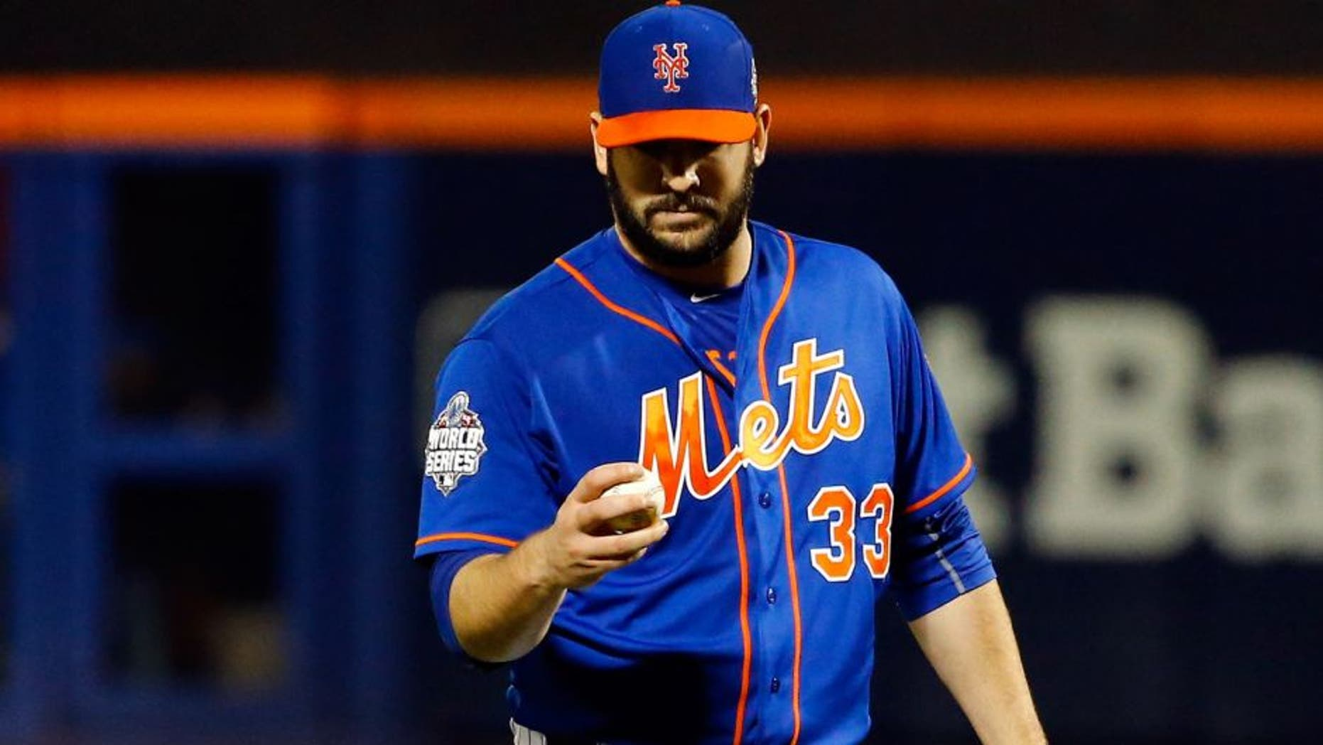 NEW YORK, NY - NOVEMBER 01: Matt Harvey #33 of the New York Mets reacts in the ninth inning against the Kansas City Royals during Game Five of the 2015 World Series at Citi Field on November 1, 2015 in the Flushing neighborhood of the Queens borough of New York City. (Photo by Al Bello/Getty Images)