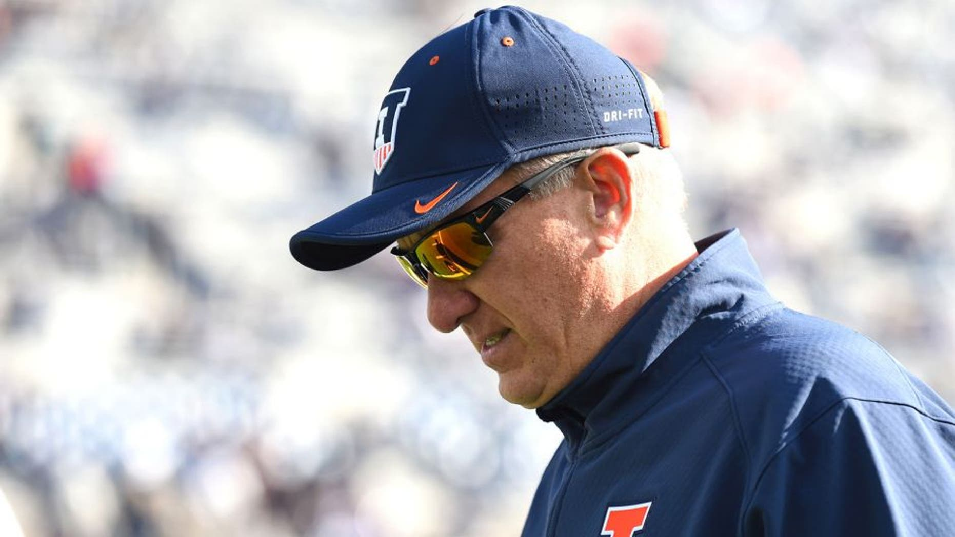 Oct 31, 2015; University Park, PA, USA; Illinois Fighting Illini head coach Bill Cubit walks on the field prior to the game against the Penn State Nittany Lions at Beaver Stadium. Mandatory Credit: Rich Barnes-USA TODAY Sports