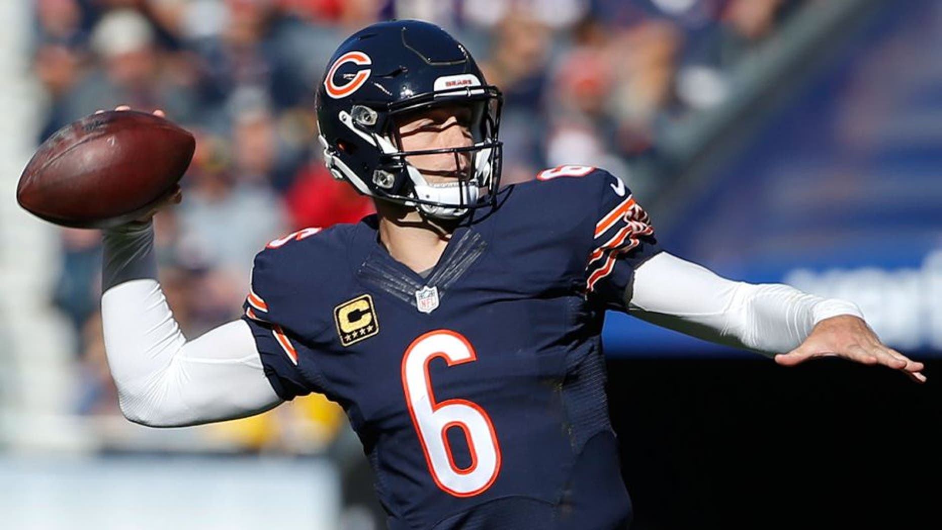 Nov 1, 2015; Chicago, IL, USA; Chicago Bears quarterback Jay Cutler (6) throws the ball against the Minnesota Vikings during the second quarter at Soldier Field. Mandatory Credit: Kamil Krzaczynski-USA TODAY Sports