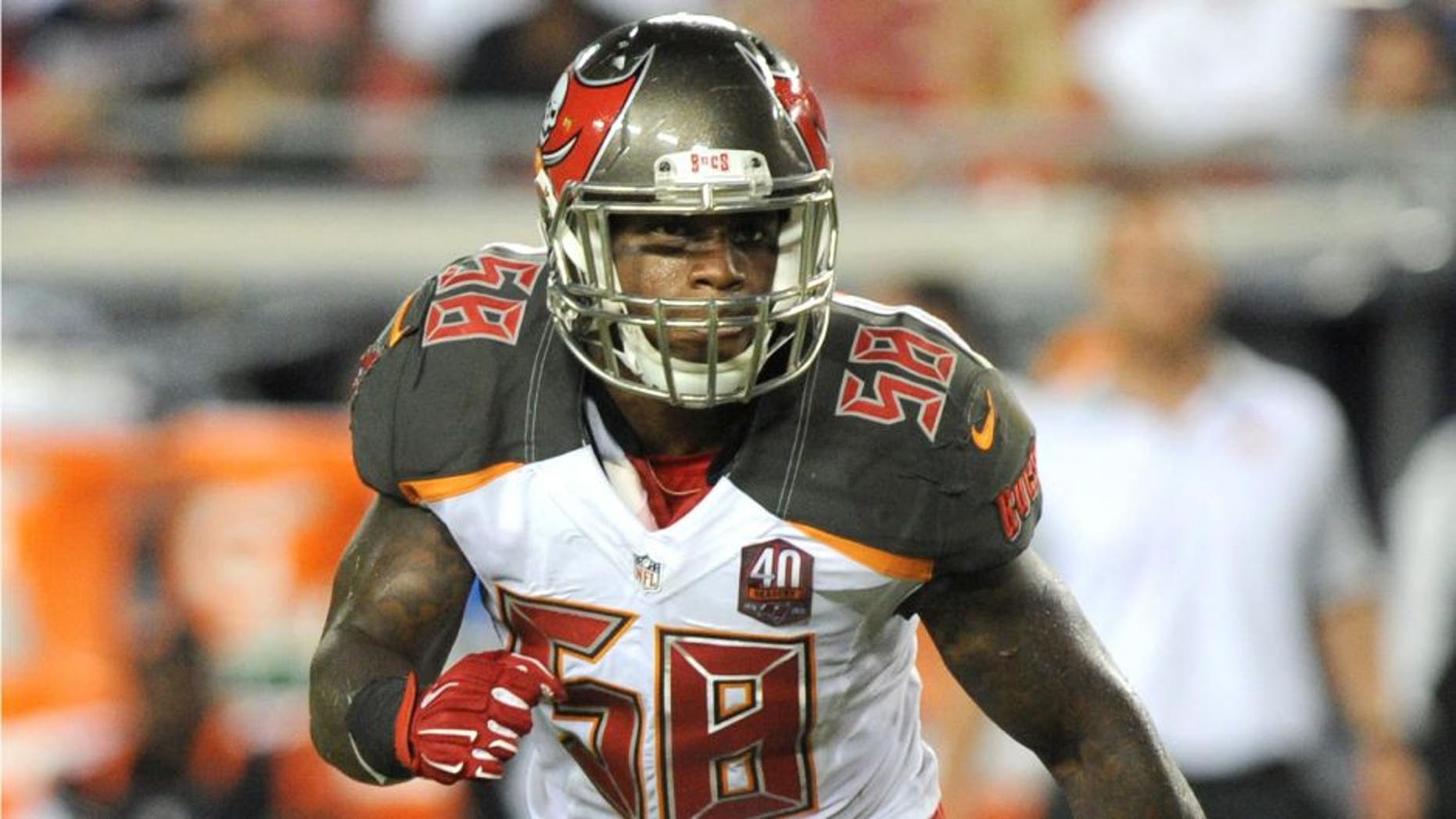 TAMPA, FL - AUGUST 24: Outside linebacker Kwon Alexander #58 of the Tampa Bay Buccaneers runs upfield during action against the Cincinnati Bengals at Raymond James Stadium in preseason action on August 24, 2015 in Tampa, Florida. (Photo by Cliff McBride/Getty Images)