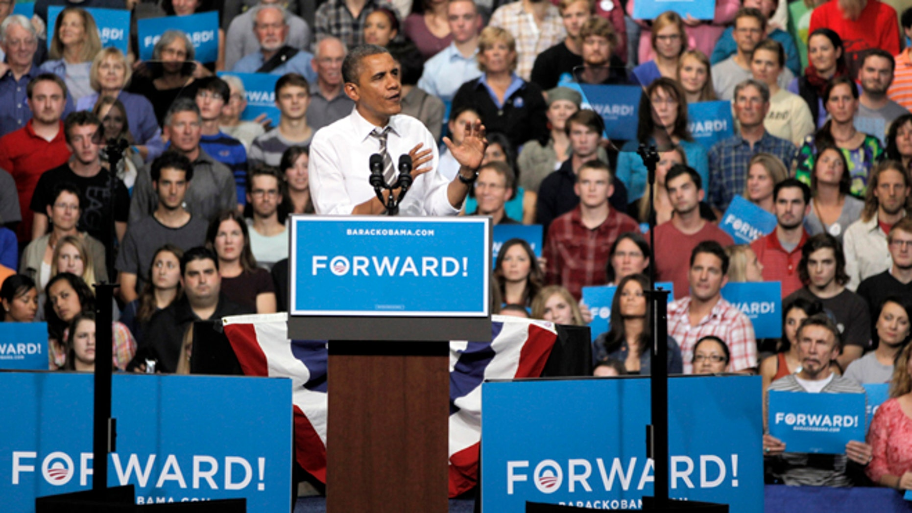 Nov. 1, 2012: President Barack Obama speaks during a campaign rally at the University of Colorado.