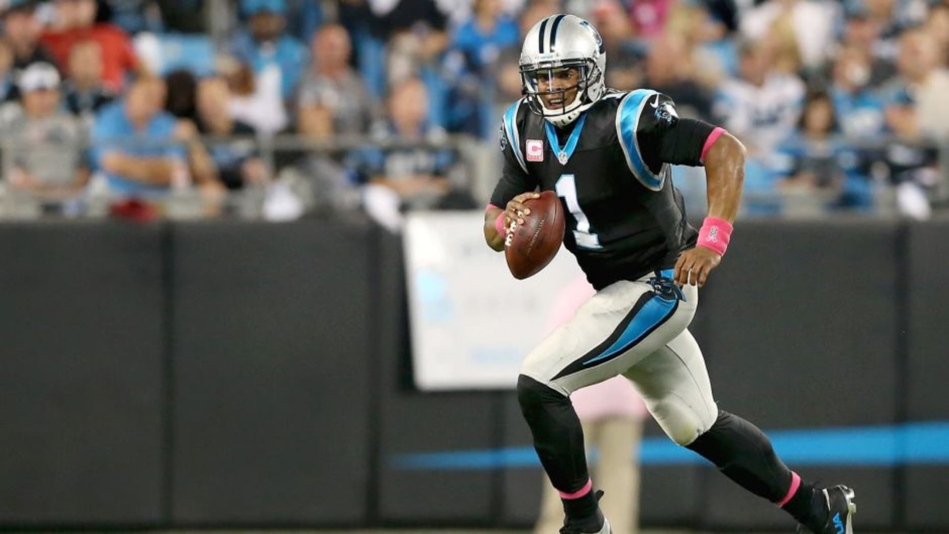 CHARLOTTE, NC - OCTOBER 25: Cam Newton #1 of the Carolina Panthers during their game at Bank of America Stadium on October 25, 2015 in Charlotte, North Carolina. (Photo by Streeter Lecka/Getty Images)