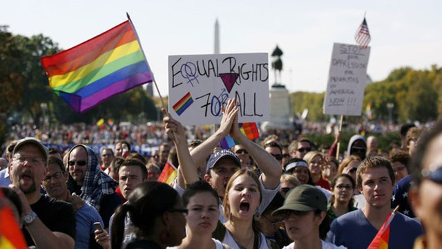 Oct. 11: Thousands of people gather during a gay rights demonstration in Washington (Reuters).