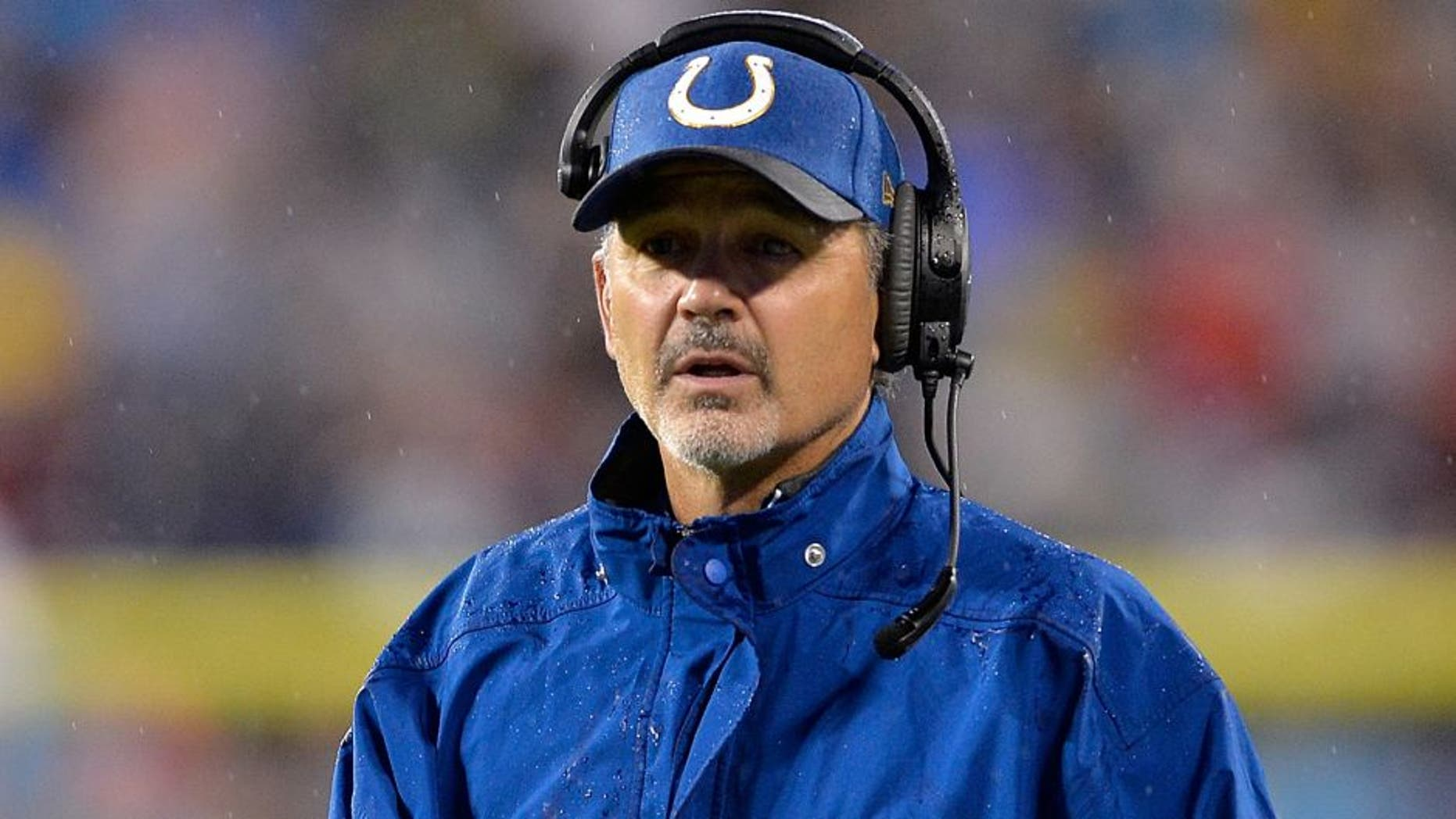 CHARLOTTE, NC - NOVEMBER 02: Head coach Chuck Pagano of the Indianapolis Colts looks on against the Carolina Panthers in the 1st quarter during their game at Bank of America Stadium on November 2, 2015 in Charlotte, North Carolina. (Photo by Grant Halverson/Getty Images)