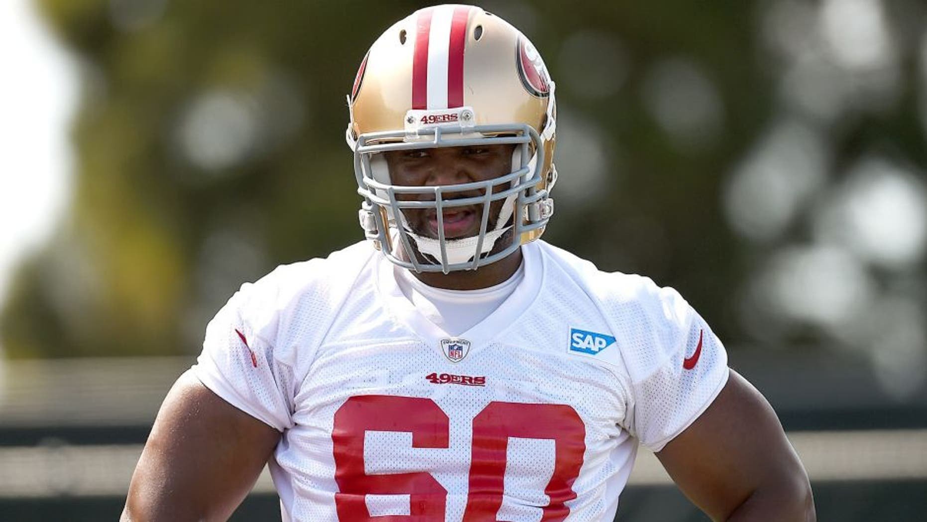 SANTA CLARA, CA - MAY 23: Kaleb Ramsey #60 of the San Francisco 49ers participates in drills during 49ers Rookie Minicamp on May 23, 2014 in Santa Clara, California. (Photo by Thearon W. Henderson/Getty Images)