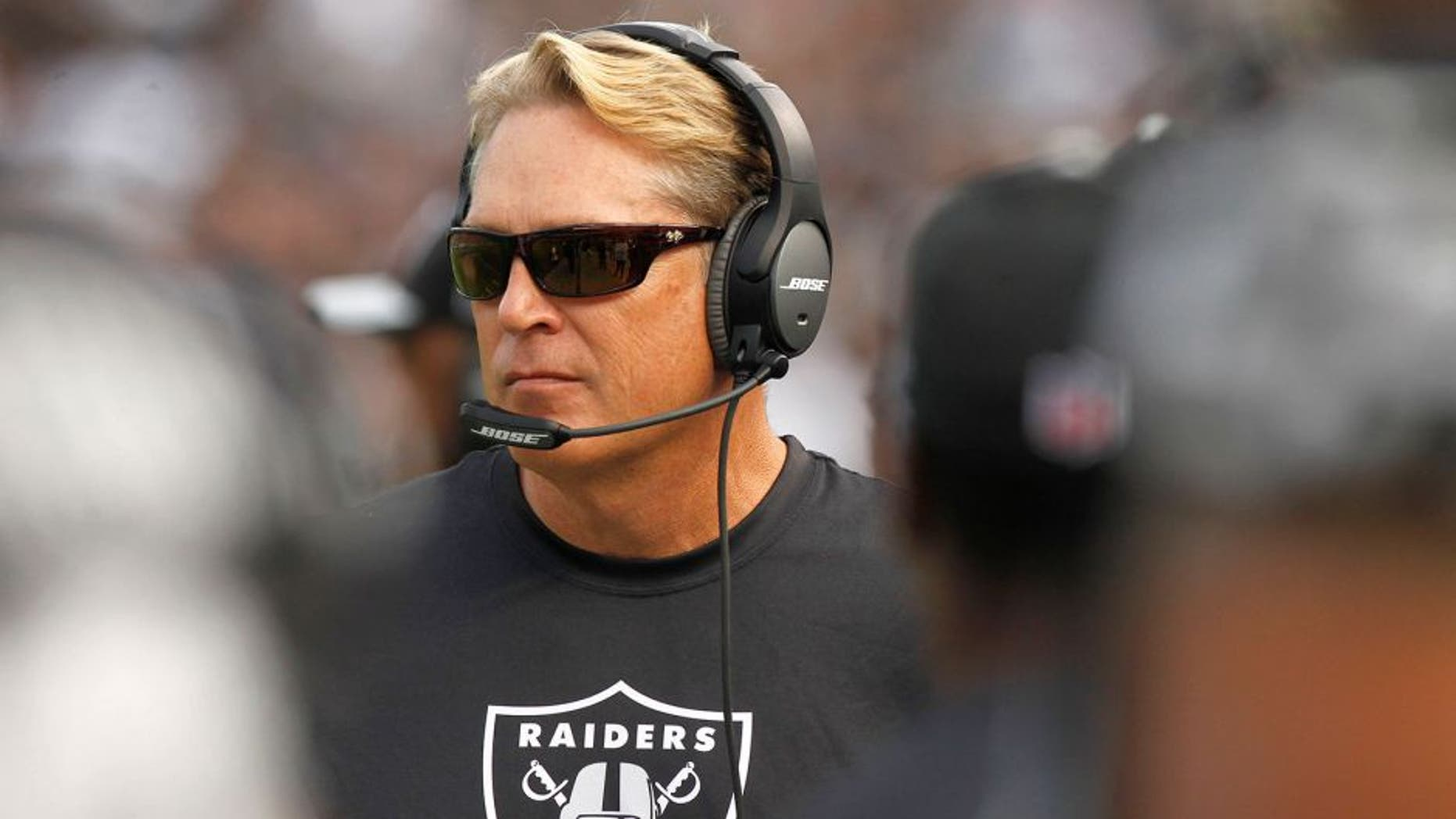 Nov 1, 2015; Oakland, CA, USA; Oakland Raiders head coach Jack Del Rio walks down the sideline during action against the New York Jets in the fourth quarter at O.co Coliseum. The Raiders defeated the Jets 34-20. Mandatory Credit: Cary Edmondson-USA TODAY Sports