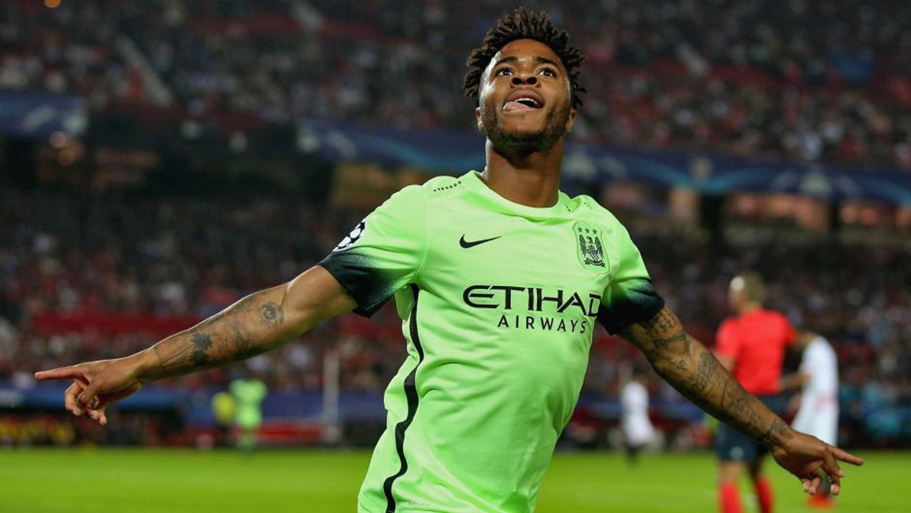 SEVILLE, SPAIN - NOVEMBER 03: Raheem Sterling of Manchester City celebrates as he scores their first goal during the UEFA Champions League Group D match between Sevilla FC and Manchester City FC at Estadio Ramon Sanchez Pizjuan on November 3, 2015 in Seville, Spain. (Photo by Ian Walton/Getty Images)