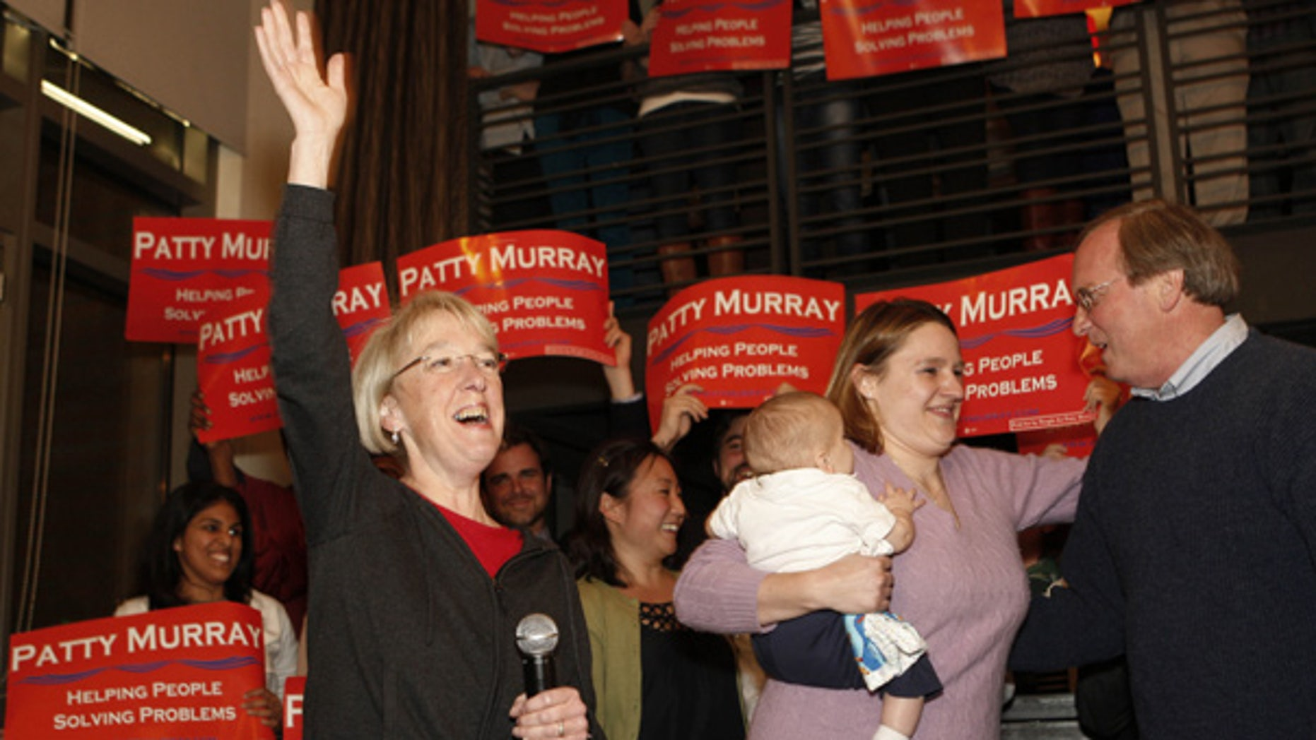 Nov. 4: Sen. Patty Murray celebrates with supporters in Seattle after Republican challenger Dino Rossi conceded.