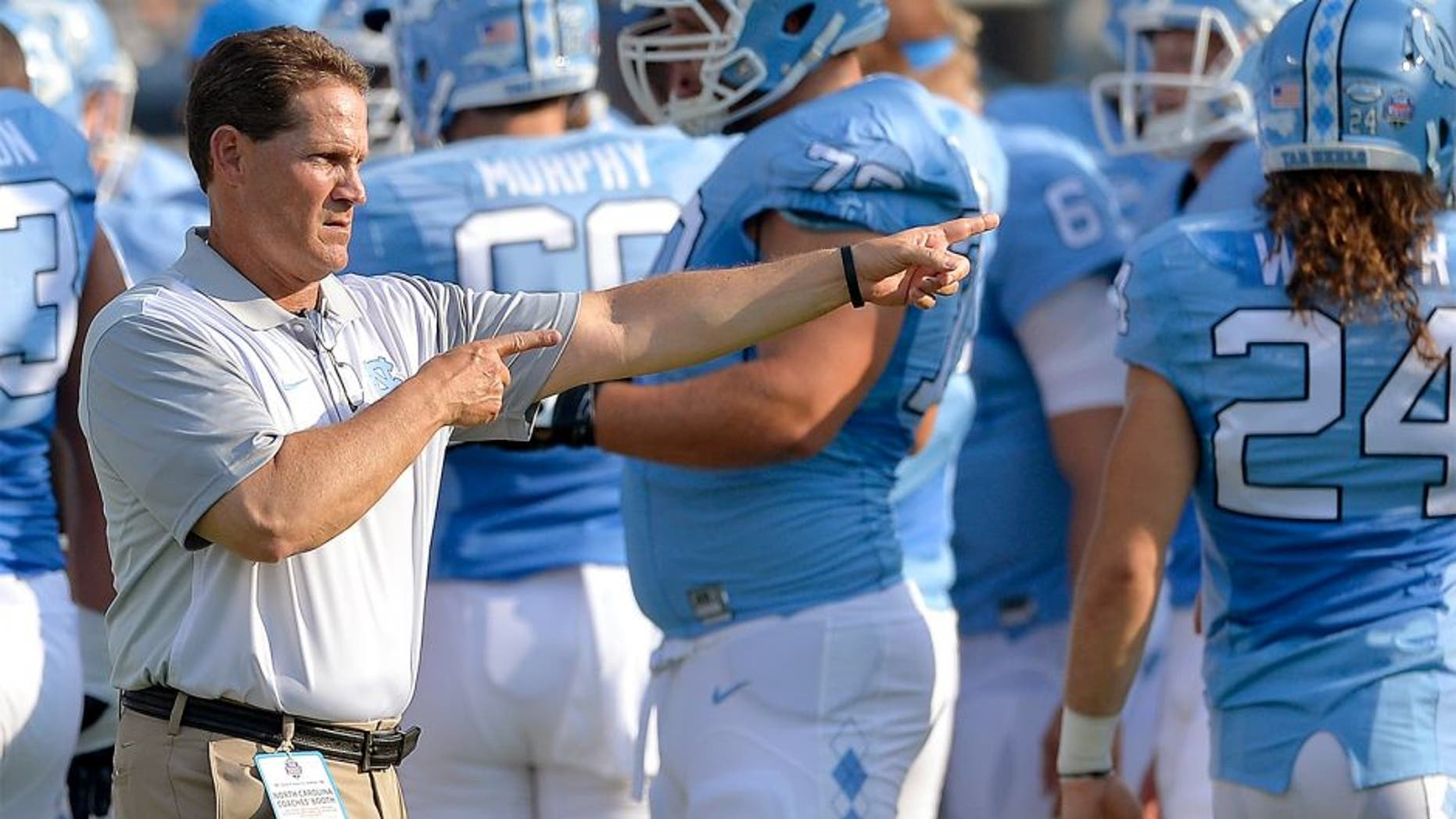 CHARLOTTE, NC - SEPTEMBER 03: Defensive coordinator Gene Chizik of the North Carolina Tar Heels during their game against the South Carolina Gamecocks at Bank of America Stadium on September 3, 2015 in Charlotte, North Carolina. South Carolina won 17-13. (Photo by Grant Halverson/Getty Images)