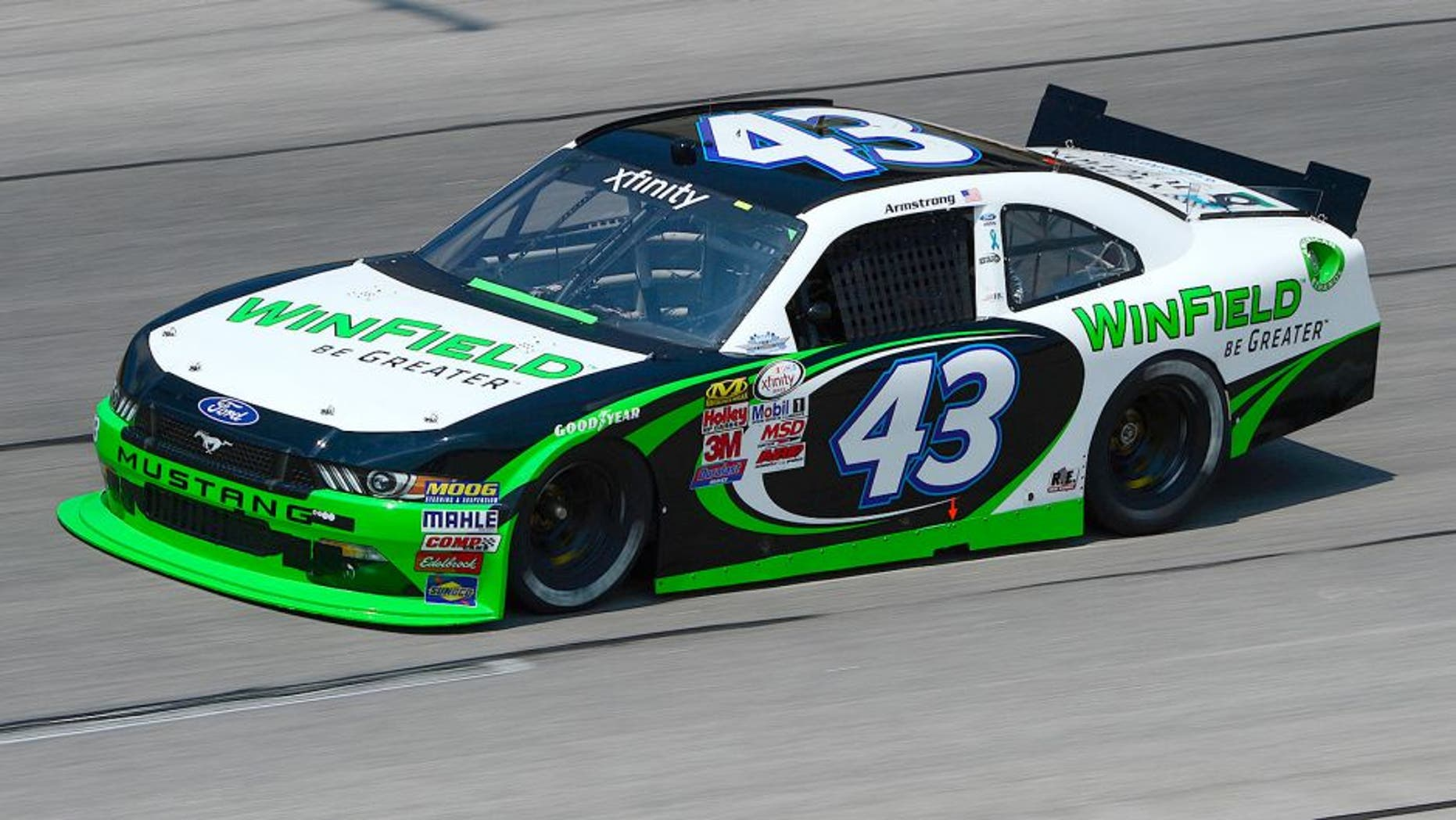 DARLINGTON, SC - SEPTEMBER 04: Dakoda Armstrong, driver of the #43 WinField Ford, practices for the NASCAR XFINITY Series VFW Sport Clips Help A Hero 200 at Darlington Raceway on September 4, 2015 in Darlington, South Carolina. (Photo by Robert Laberge/NASCAR via Getty Images)