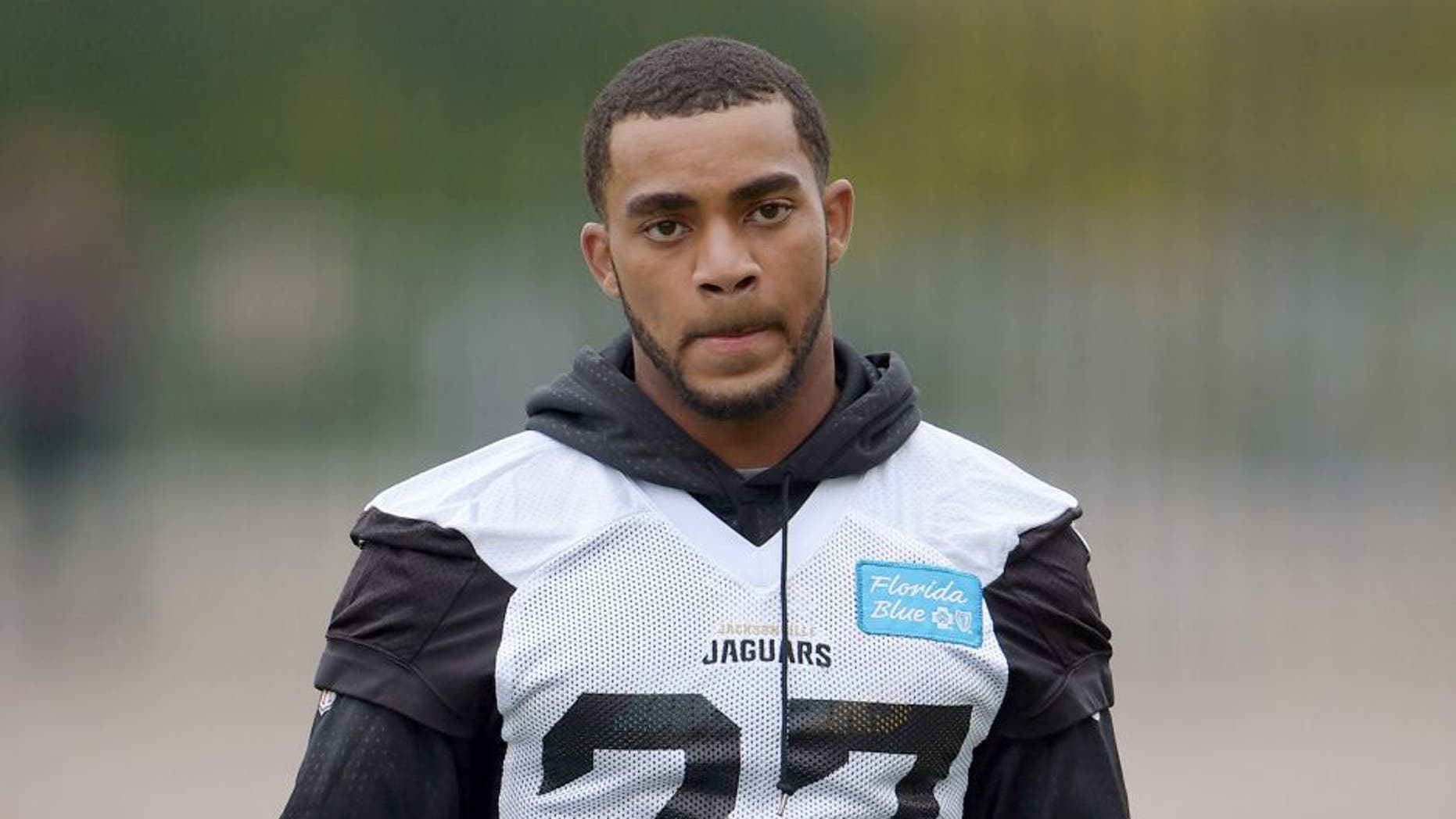 Oct 23, 2015; London, United Kingdom; Jacksonville Jaguars cornerback Dwayne Gratz (27) looks on during practice at Allianz Park in preparation for the NFL International Series game against the Buffalo Bills. Mandatory Credit: Kirby Lee-USA TODAY Sports