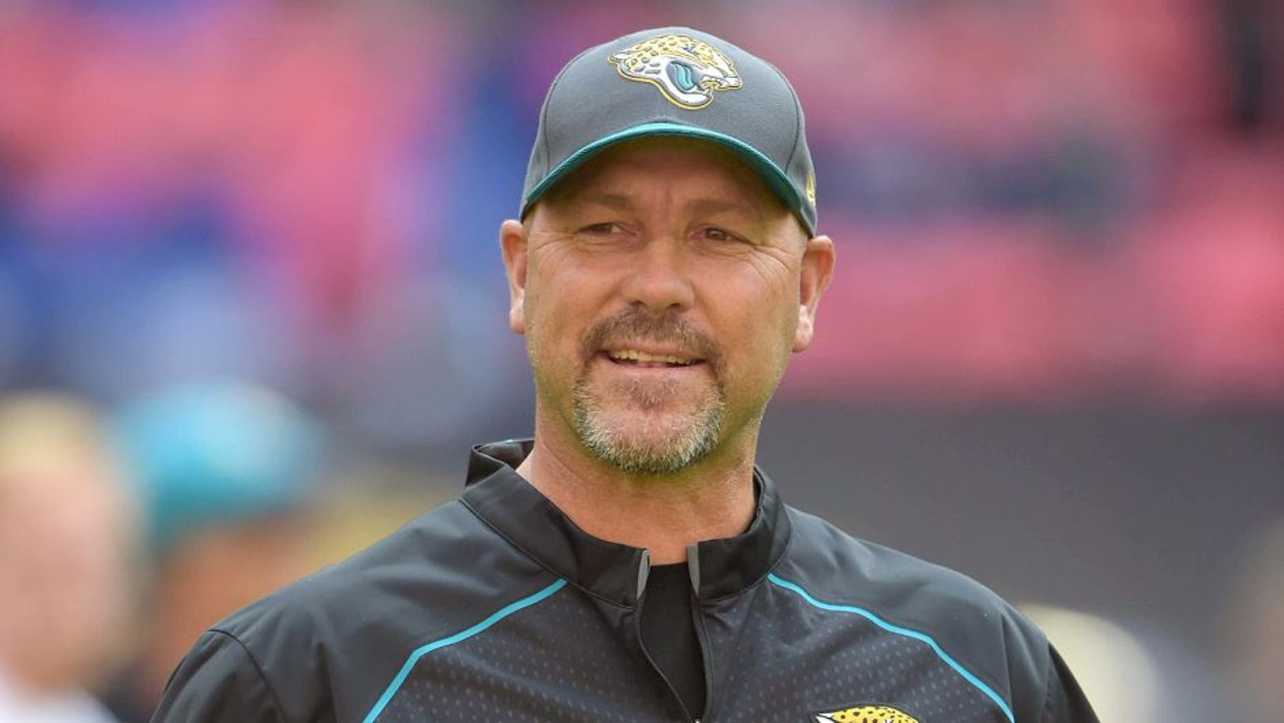 Oct 25, 2015; London, United Kingdom; Jacksonville Jaguars coach Gus Bradley reacts against the Buffalo Bills during NFL International Series game at Wembley Stadium. Mandatory Credit: Kirby Lee-USA TODAY Sports