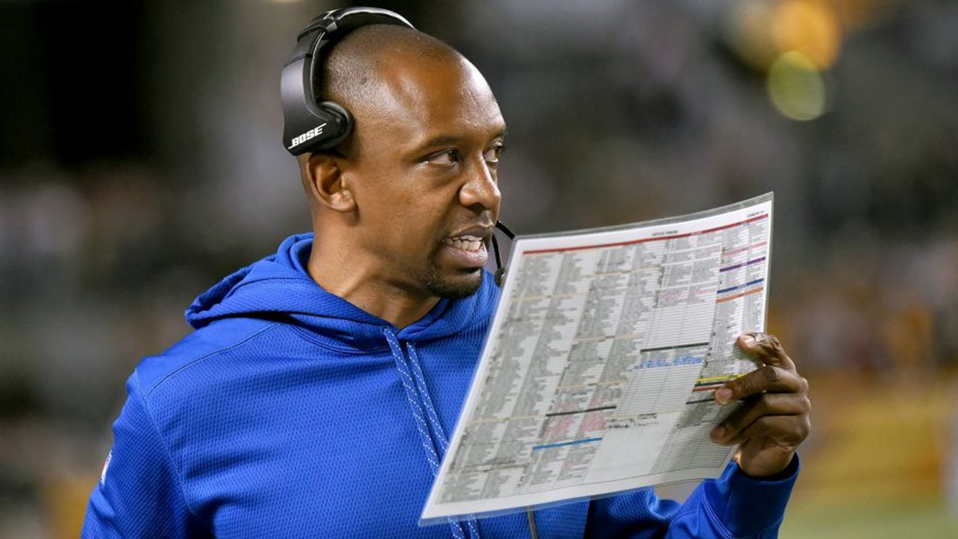 PITTSBURGH, PA - OCTOBER 26: Offensive coordinator Pep Hamilton of the Indianapolis Colts looks on from the sideline during a game against the Pittsburgh Steelers at Heinz Field on October 26, 2014 in Pittsburgh, Pennsylvania. The Steelers defeated the Colts 51-34. (Photo by George Gojkovich/Getty Images)