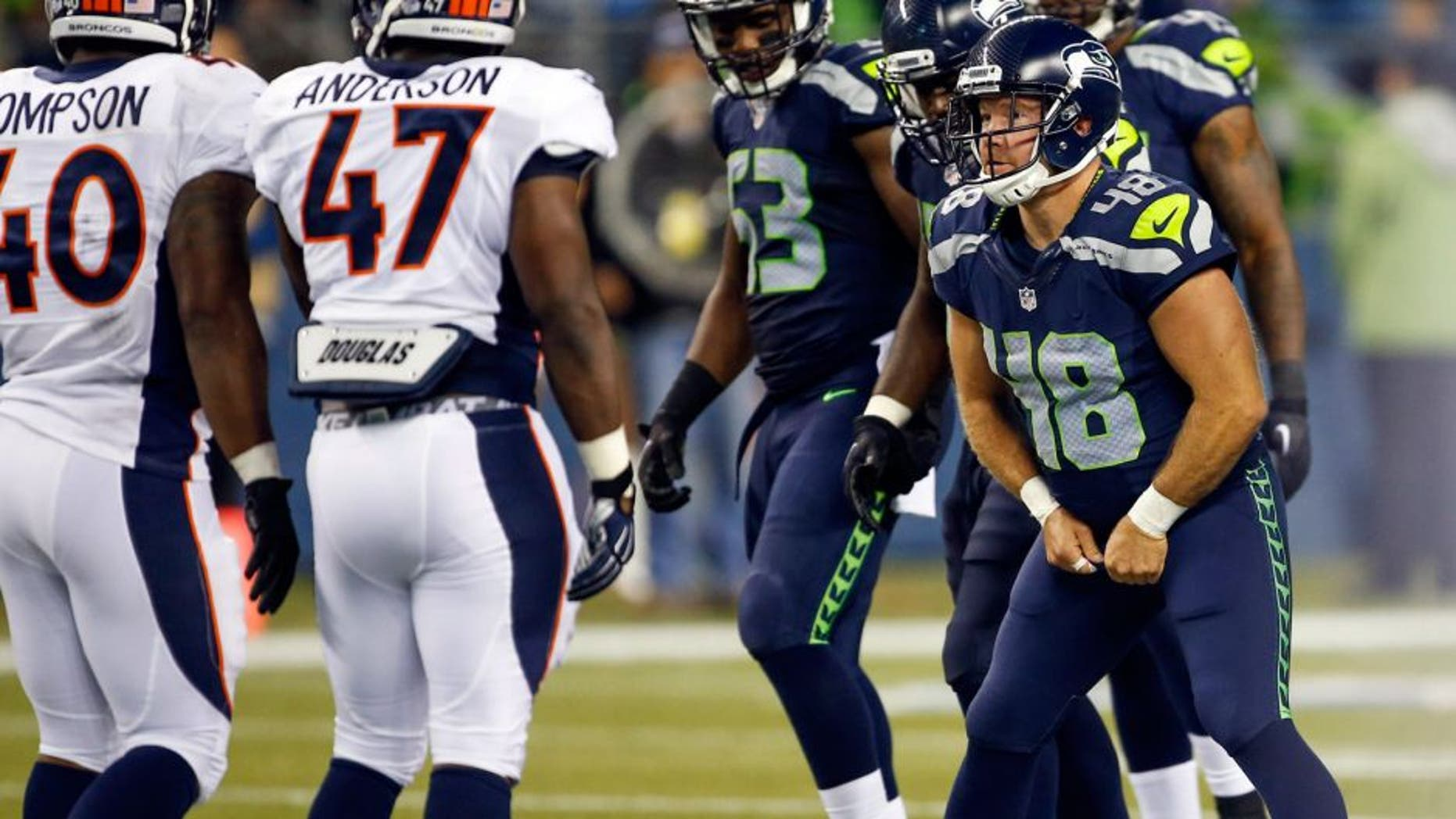 Aug 14, 2015; Seattle, WA, USA; Seattle Seahawks long snapper Nate Boyer (48) readies himself for a play against the Denver Broncos during the fourth quarter in a preseason NFL football game at CenturyLink Field. Mandatory Credit: Joe Nicholson-USA TODAY Sports