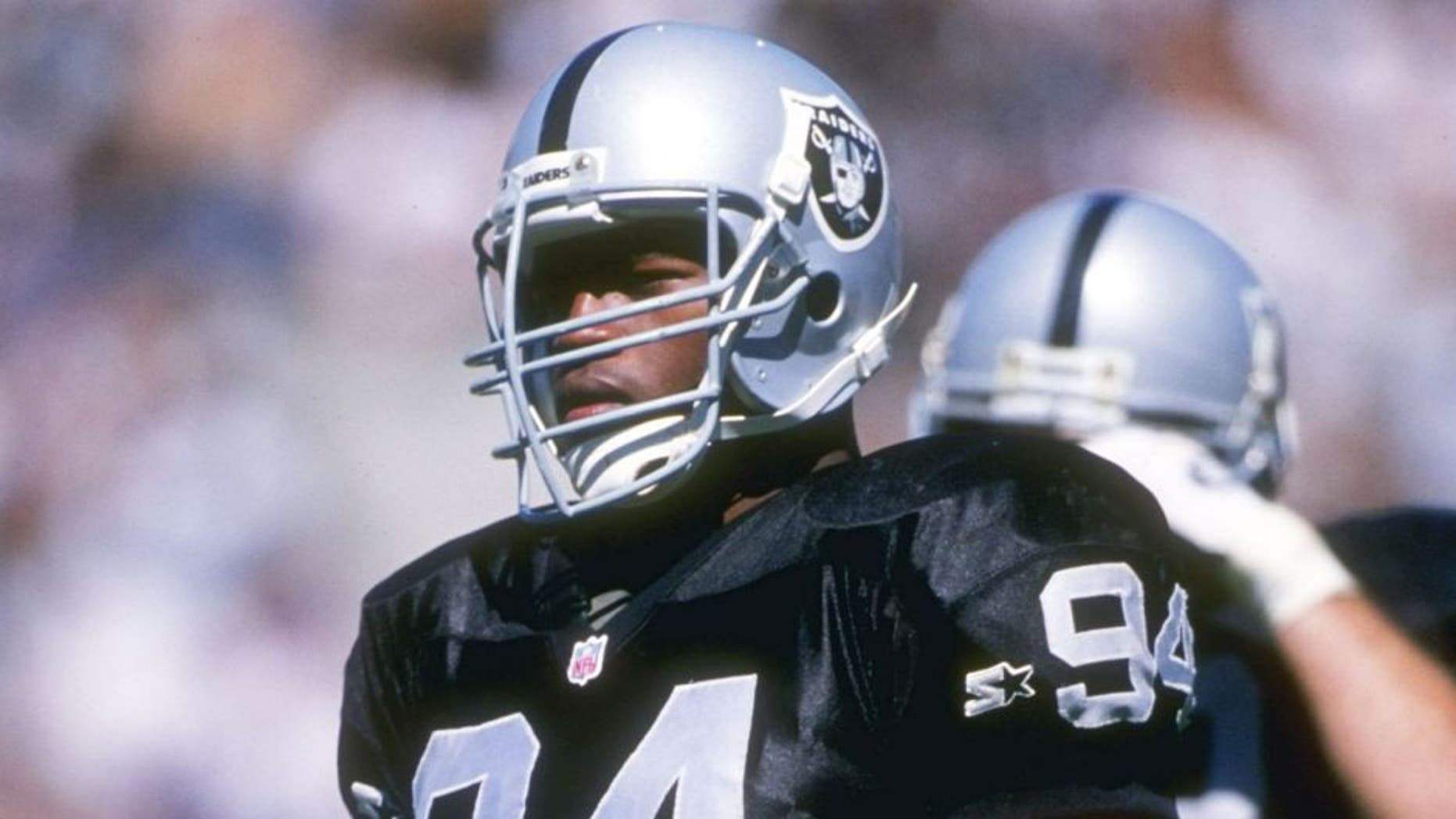 3 Sep 1995: Defensive lineman Anthony Smith of the Oakland Raiders looks on during a game against the San Diego Chargers at the Oakland-Alameda County Coliseum in Oakland, California. The Raiders won the game, 17-7. Mandatory Credit: Mike Powell /Allsp