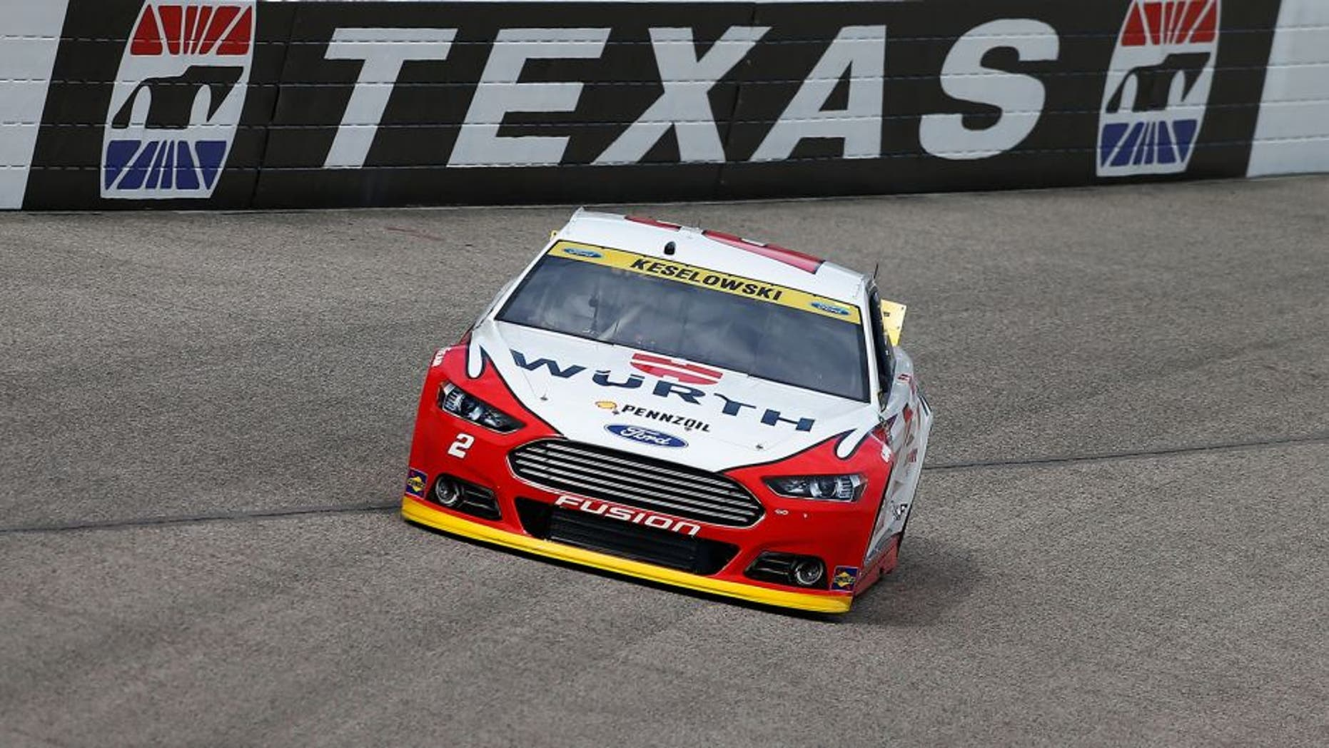 FORT WORTH, TX - NOVEMBER 06: Brad Keselowski, driver of the #2 Wurth Ford, practices for the NASCAR Sprint Cup Series AAA Texas 500 at Texas Motor Speedway on November 6, 2015 in Fort Worth, Texas. (Photo by Jonathan Ferrey/Getty Images for Texas Motor Speedway)