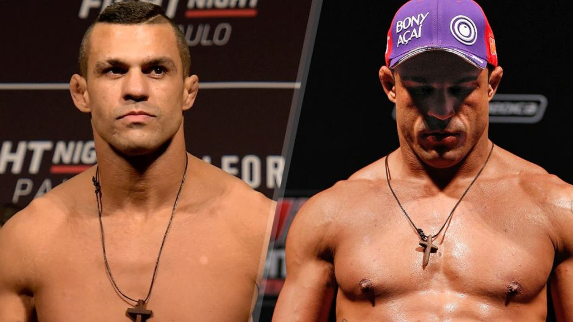 SAO PAULO, BRAZIL - NOVEMBER 06:Vitor Belfort of Brazil weighs in during the UFC Fight Night weigh-in at Ibirapuera Gymnasium on November 06, 2015 in Sao Paulo, Brazil. (Photo by Buda Mendes/Zuffa LLC/Zuffa LLC via Getty Images) GOIANIA, BRAZIL - NOVEMBER 08: Vitor Belfort weighs in during the UFC weigh-in event at Arena Goiania on November 8, 2013 in Goiania, Brazil. (Photo by Josh Hedges/Zuffa LLC/Zuffa LLC via Getty Images)