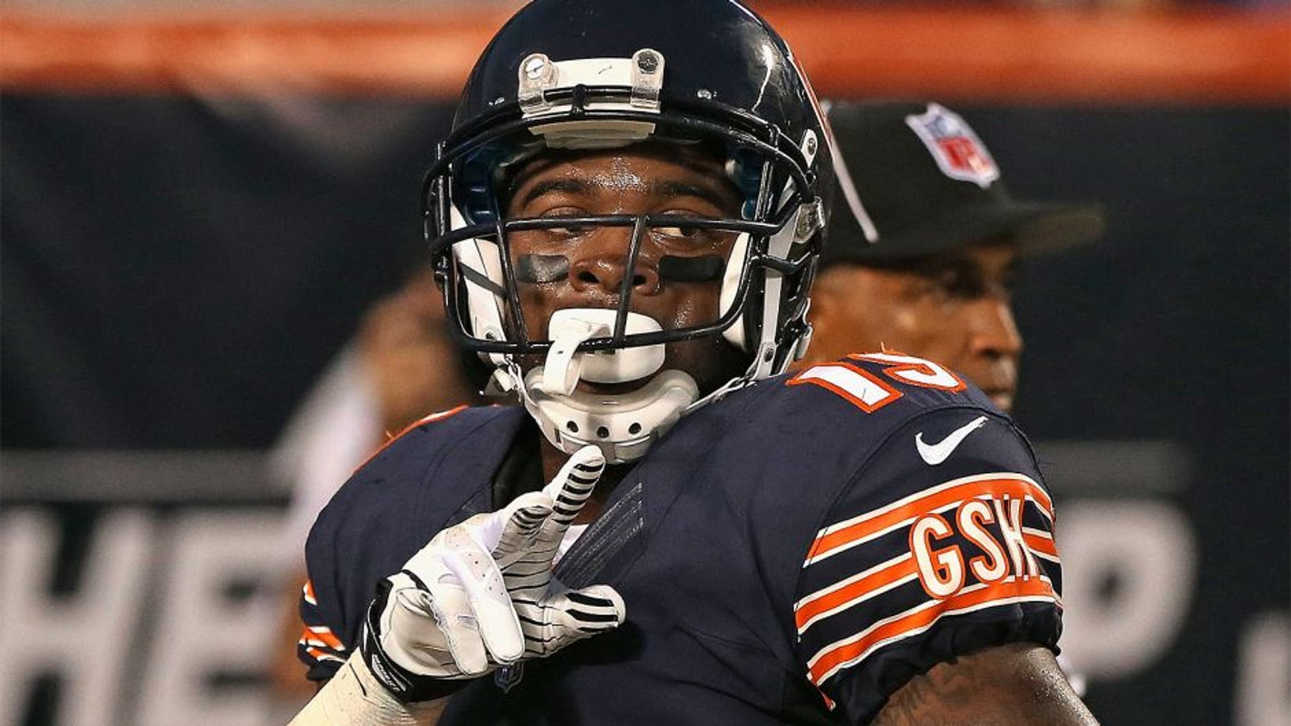 CHICAGO, IL - AUGUST 29: Joe Anderson #19 of the Chicago Bears celebrates a touchdown catch against the Cleveland Browns at Soldier Field on August 29, 2013 in Chicago, Illinois. The Browns defeated the Bears 18-16. (Photo by Jonathan Daniel/Getty Images) *** Local Caption *** Joe Anderson