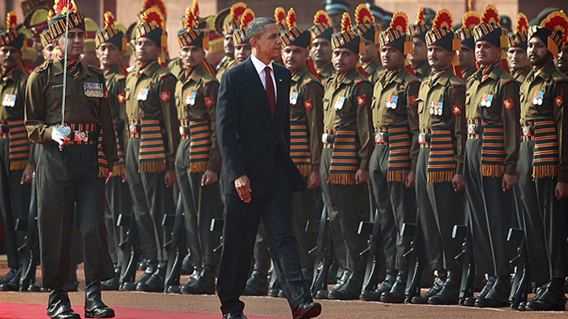 Nov. 8: President Obama inspects the guard of honor during a ceremonial reception at Rashtrapati Bhavan, the Presidential Palace, in New Delhi, India.