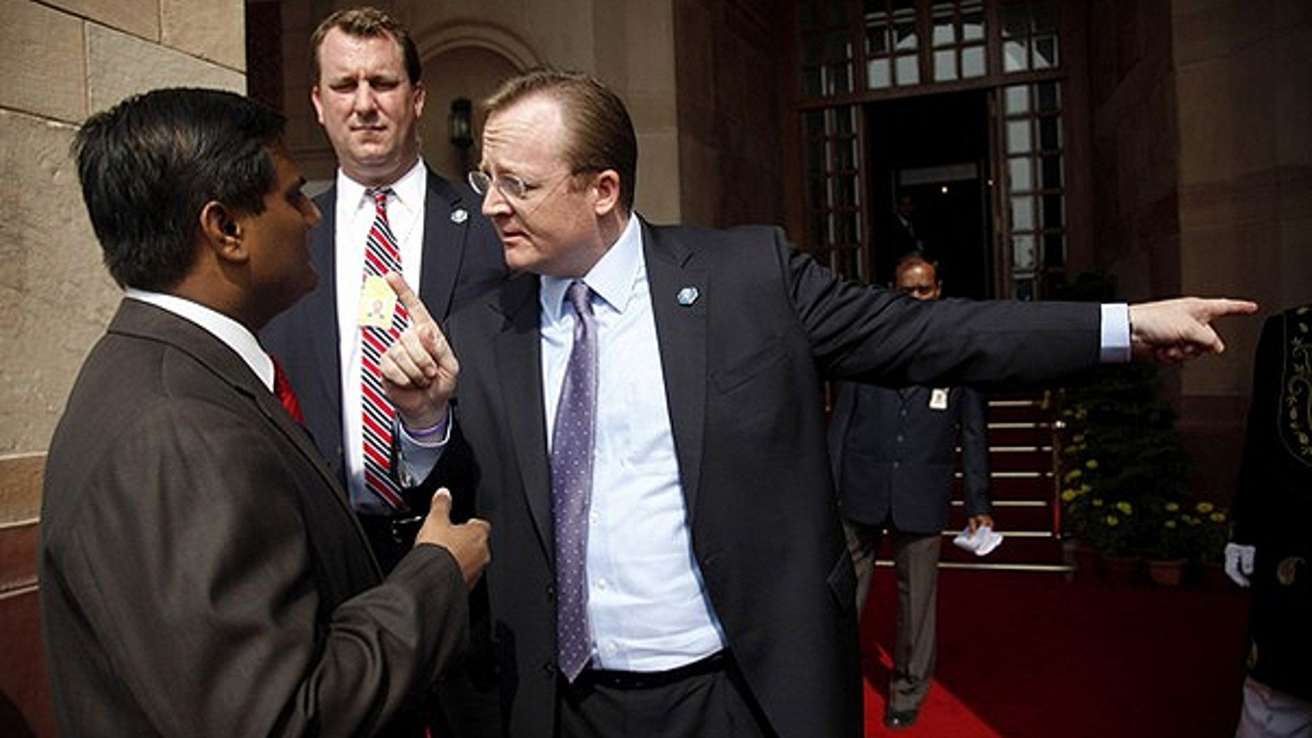 Nov. 8: White House press secretary Robert Gibbs (R) argues with an official from the Indian Prime Minister's office after the travelling White House press pool were initially refused entry to the bilateral meeting between U.S. President Barack Obama and India's Prime Minister Manmohan Singh at Hyderabad House in New Delhi.