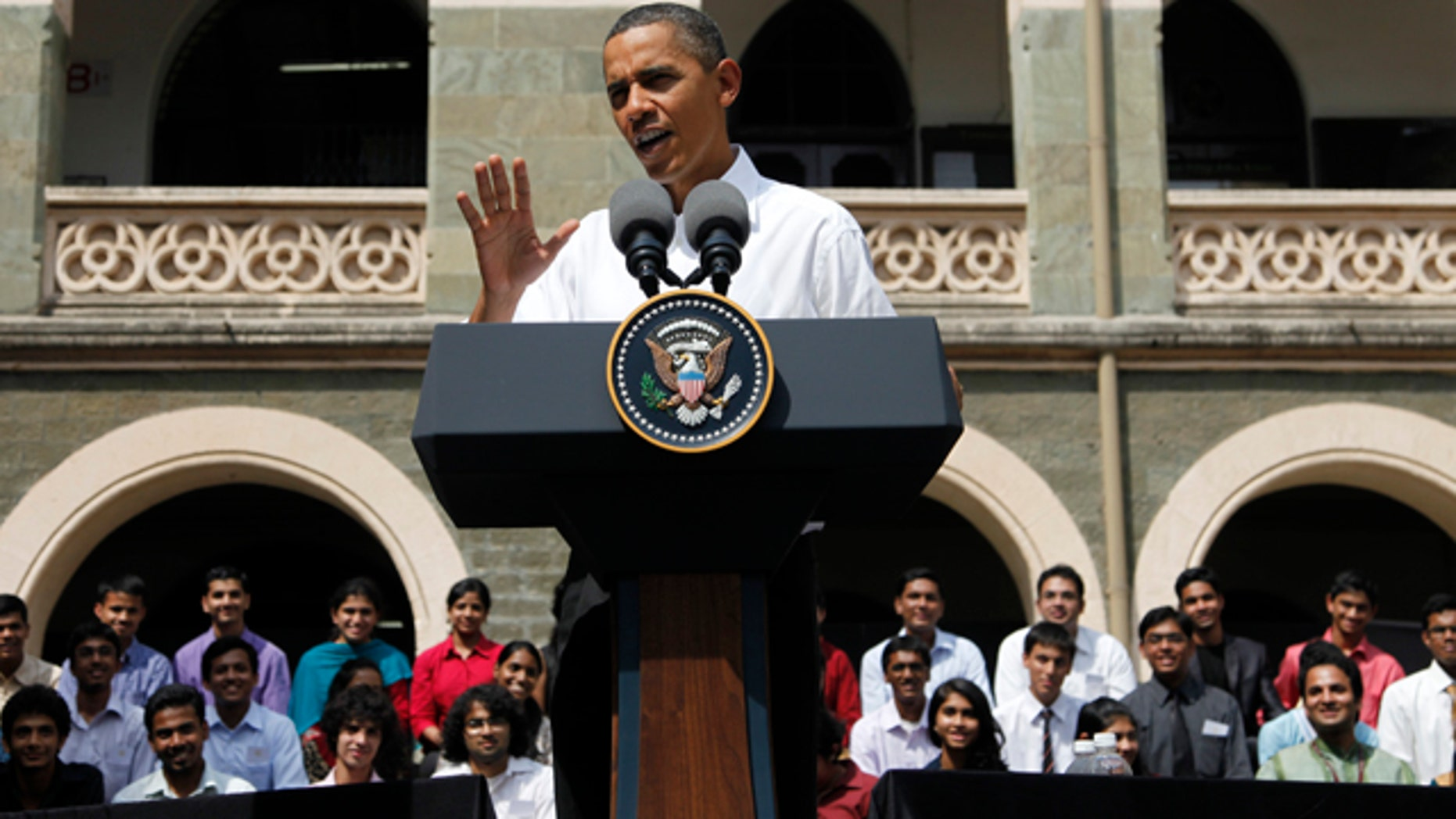 Nov. 7: President Obama gestures during a town hall meeting with students at St. Xavier's College in Mumbai.