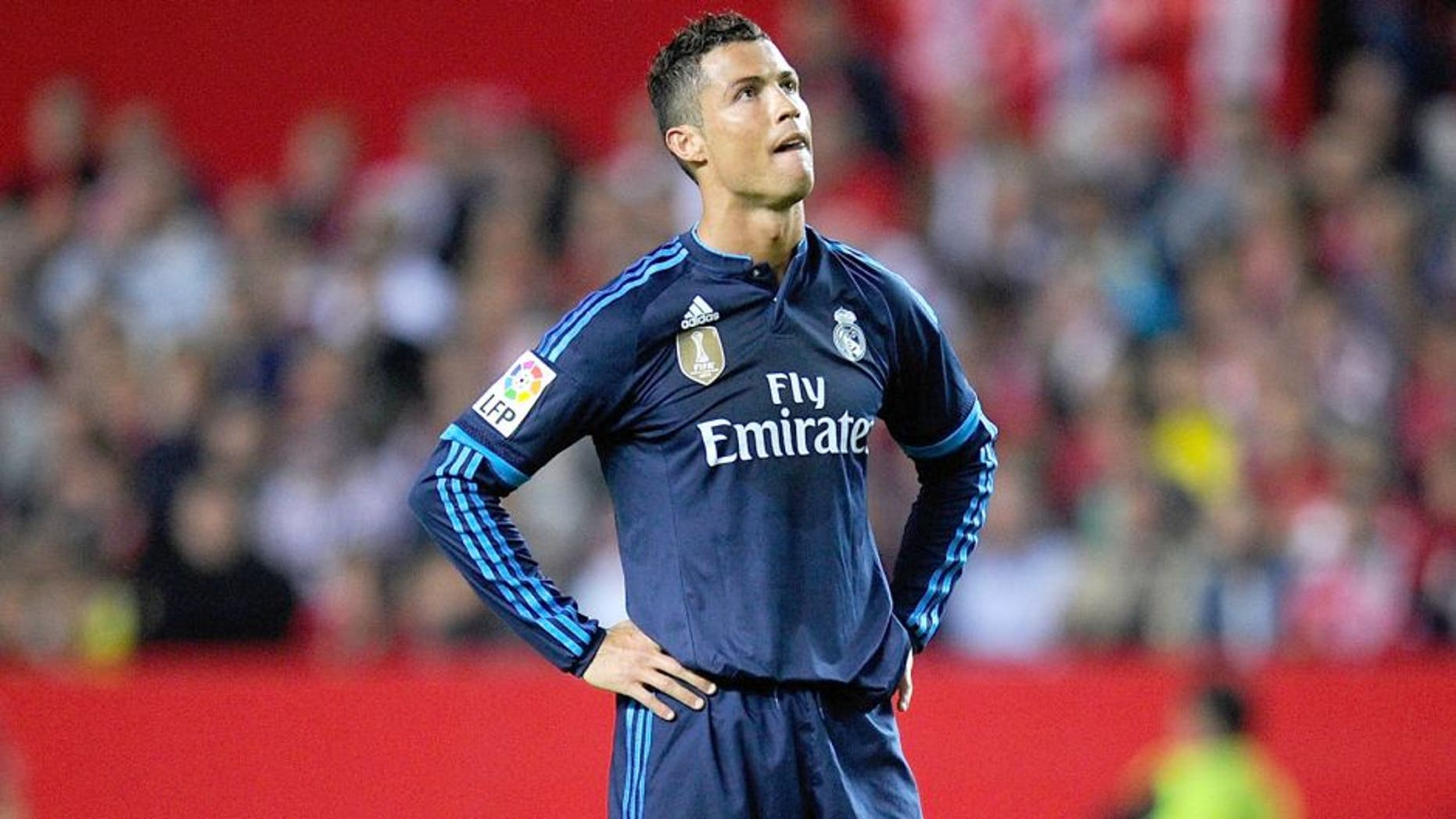 SEVILLE, SPAIN - NOVEMBER 08: Cristiano Ronaldo of Real Madrid reacts during the La Liga match between Sevilla FC and Real Madrid CF at Estadio Ramon Sanchez Pizjuan on November 8, 2015 in Seville, Spain. (Photo by Denis Doyle/Getty Images)