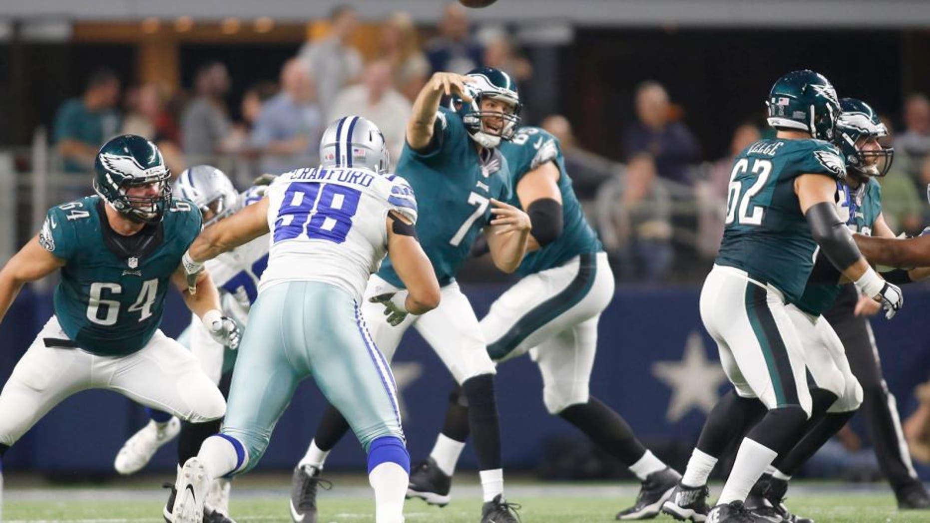 Nov 8, 2015; Arlington, TX, USA; Philadelphia Eagles quarterback Sam Bradford (7) throws a pass in the second quarter against the Dallas Cowboys at AT&T Stadium. Mandatory Credit: Tim Heitman-USA TODAY Sports