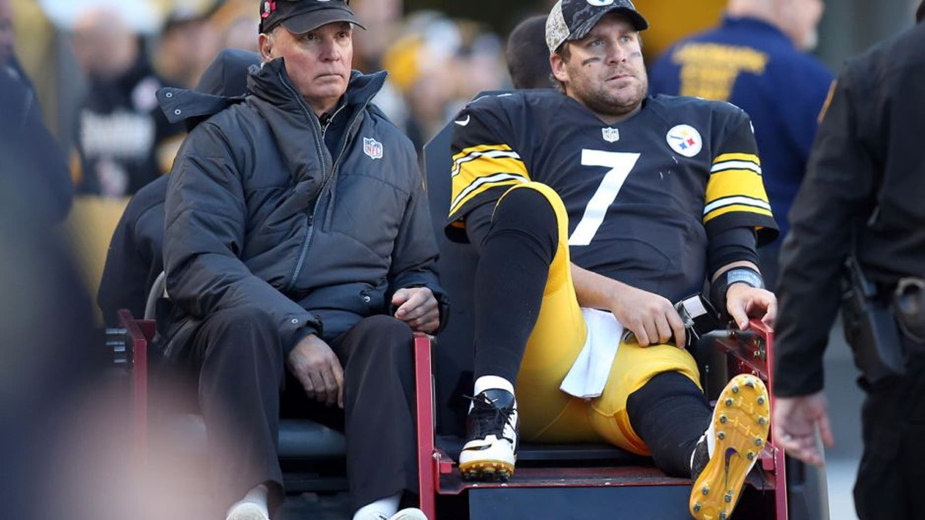 Nov 8, 2015; Pittsburgh, PA, USA; Pittsburgh Steelers quarterback Ben Roethlisberger (7) is taken from the field on a cart after suffering an apparent injury against the Oakland Raiders during the fourth quarter at Heinz Field. The Steelers won 38-35. Mandatory Credit: Charles LeClaire-USA TODAY Sports