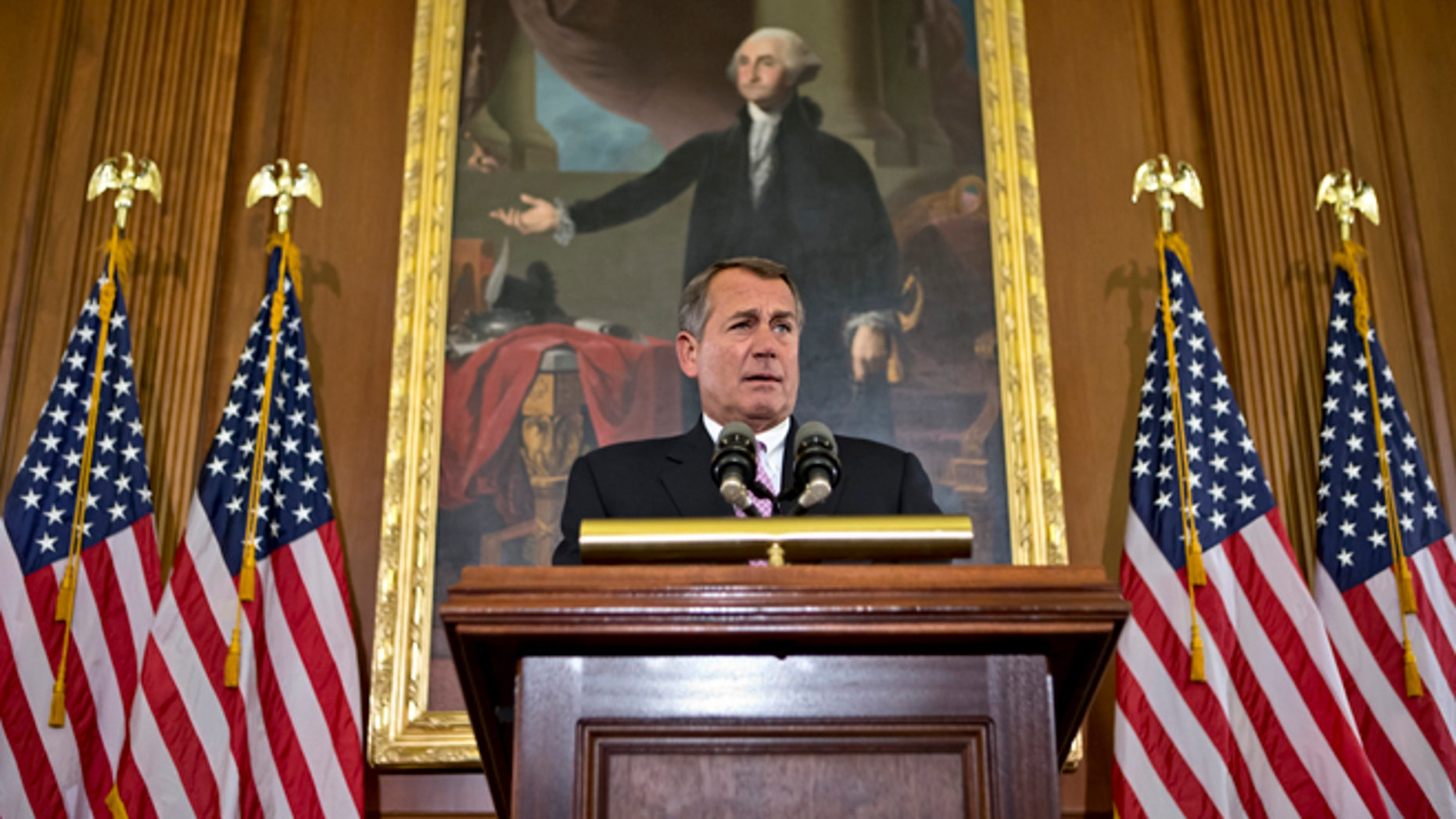 Nov. 7, 2012: House Speaker John Boehner, R-Ohio, talks about the elections and the unfinished business of Congress at the Capitol in Washington.