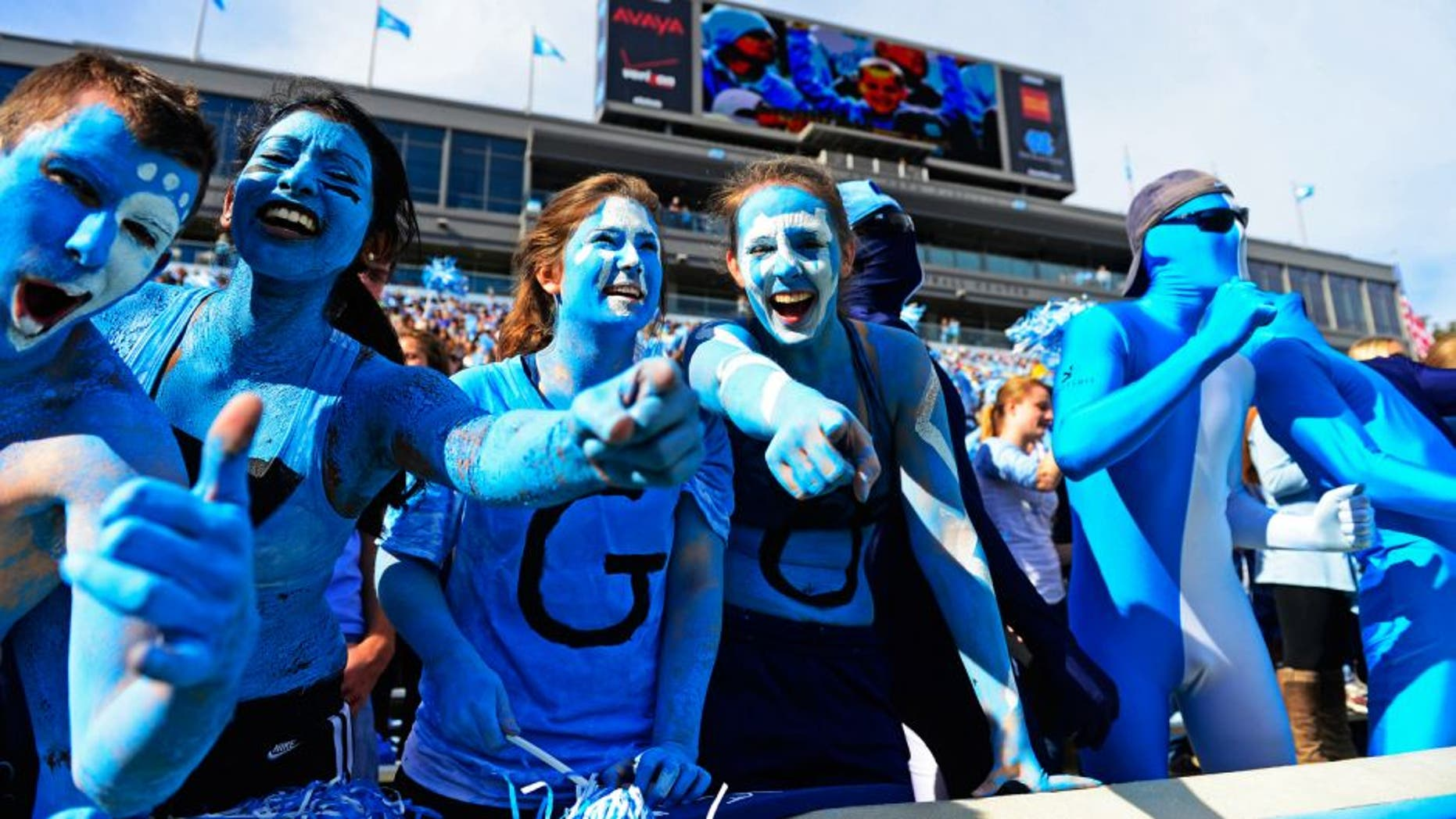 Nov 9, 2013; Chapel Hill, NC, USA; North Carolina Tar Heels fans react in the first quarter at Kenan Memorial Stadium. Mandatory Credit: Bob Donnan-USA TODAY Sports