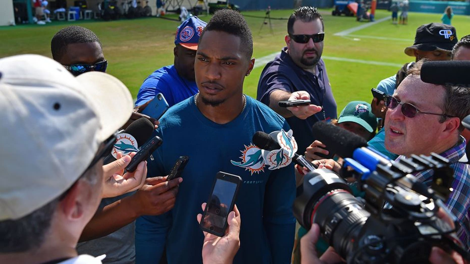 Aug 10, 2016; Miami Gardens, FL, USA; Miami Dolphins cornerback Chris Culliver speaks with the media after practice at Baptist Health Training Facility. Mandatory Credit: Jasen Vinlove-USA TODAY Sports