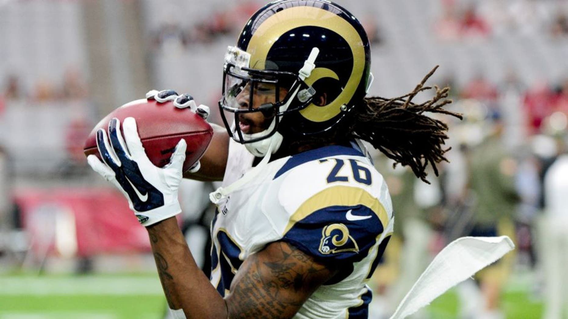 Nov 9, 2014; Glendale, AZ, USA; St. Louis Rams strong safety Mark Barron (26) warms up prior to the game against the Arizona Cardinals at University of Phoenix Stadium. Mandatory Credit: Matt Kartozian-USA TODAY Sports