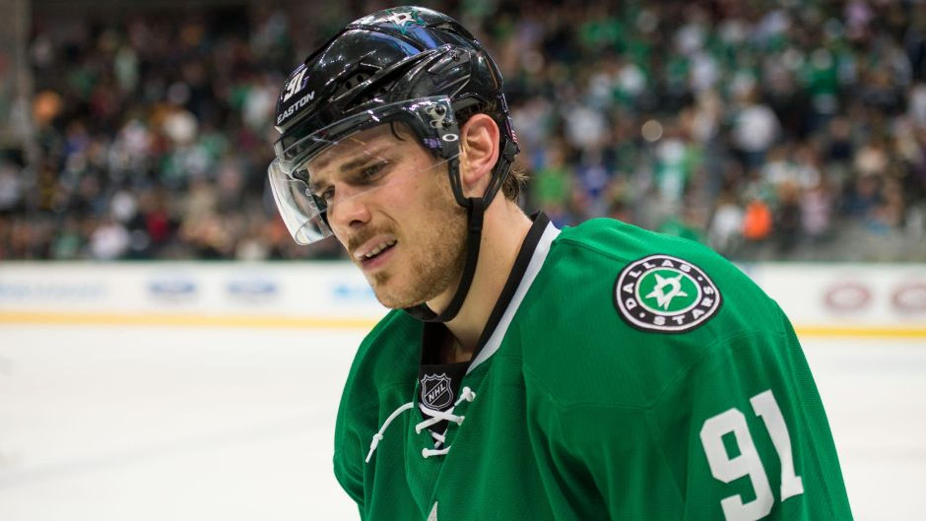 Nov 8, 2014; Dallas, TX, USA; Dallas Stars center Tyler Seguin (91) reacts to his team giving up the lead to the San Jose Sharks at the American Airlines Center. Seguin scores a hat trick. The Sharks defeated the Stars 5-3. Mandatory Credit: Jerome Miron-USA TODAY Sports