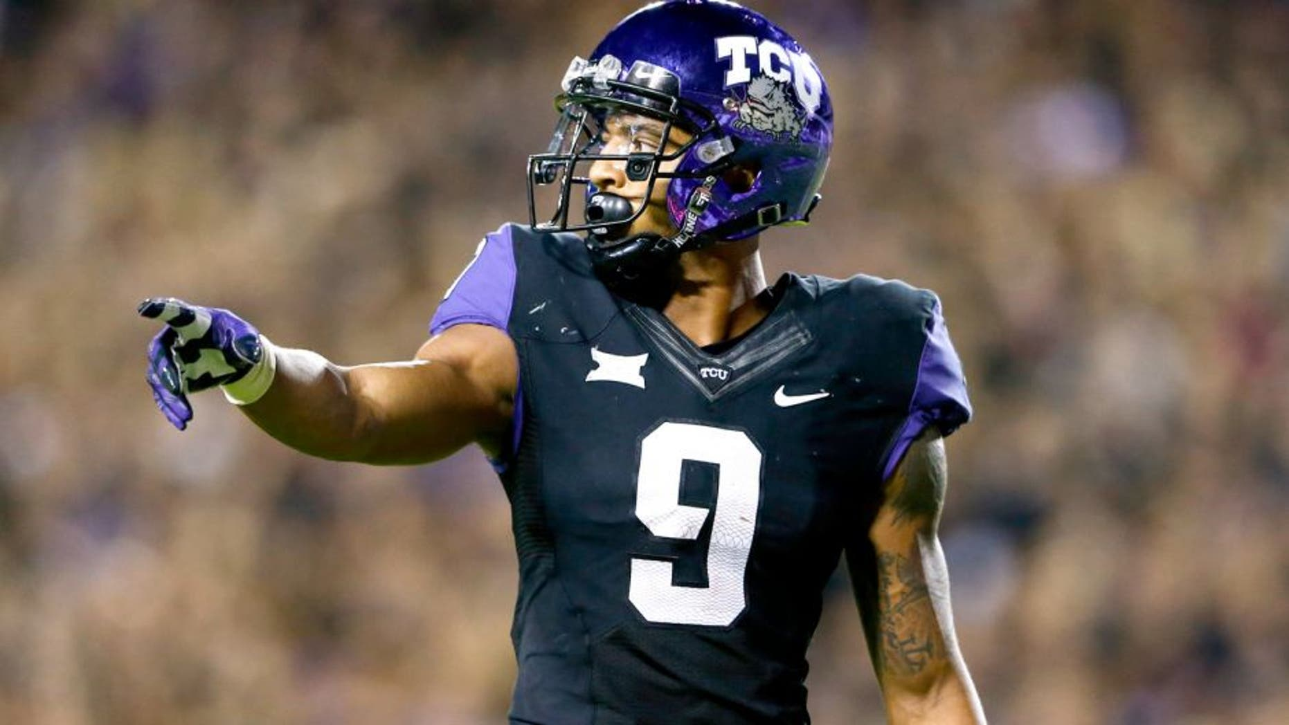 Oct 29, 2015; Fort Worth, TX, USA; TCU Horned Frogs wide receiver Josh Doctson (9) during the game against the West Virginia Mountaineers at Amon G. Carter Stadium. Mandatory Credit: Kevin Jairaj-USA TODAY Sports