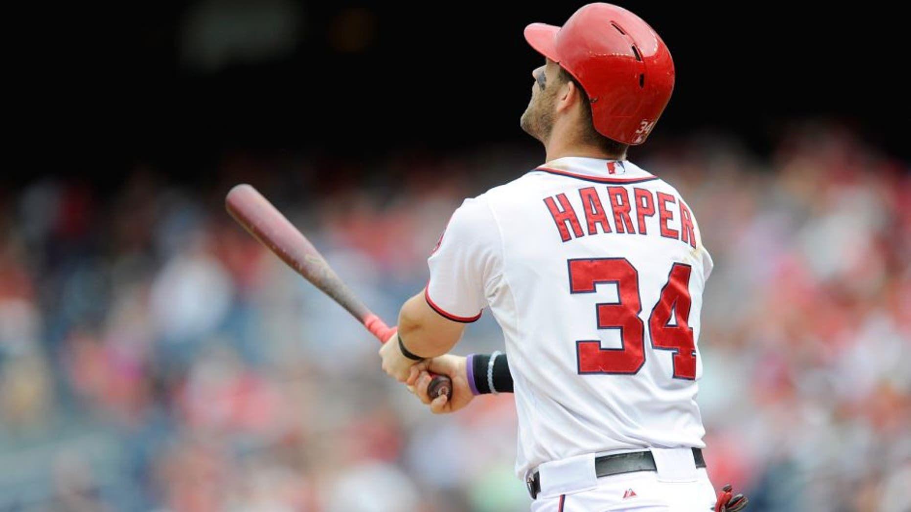 WASHINGTON, DC - SEPTEMBER 27: Bryce Harper #34 of the Washington Nationals bats against the Philadelphia Phillies at Nationals Park on September 27, 2015 in Washington, DC. (Photo by G Fiume/Getty Images)