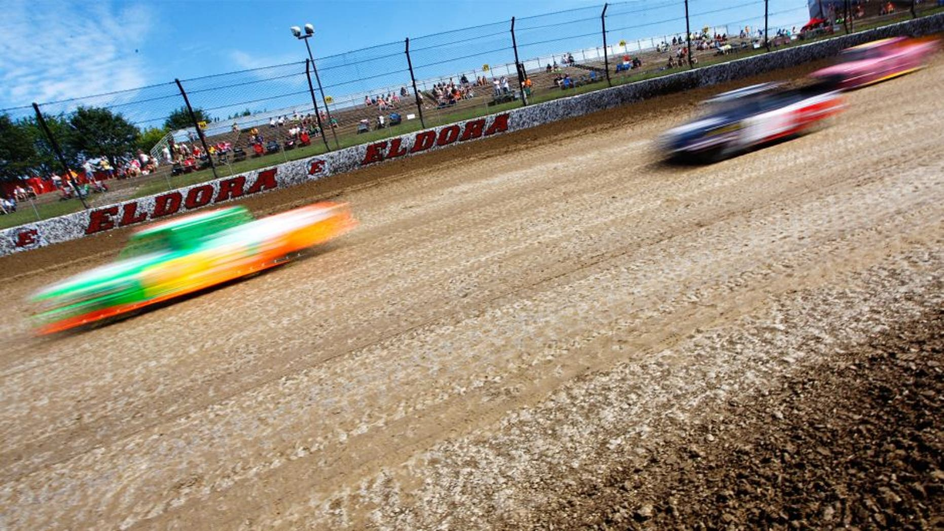 ROSSBURG, OH - JULY 22: General View of trucks during practice for NASCAR Camping World Truck Series 3rd Annual 1-800-Car-Cash Mud Summer Classic, at Eldora Speedway on July 22, 2015 in Rossburg, Ohio. (Photo by Brian Lawdermilk/NASCAR via Getty Images)