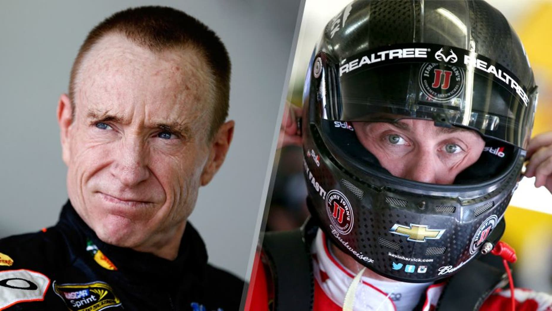 HOMESTEAD, FL - NOVEMBER 16: Mark Martin, driver of the #14 Bass Pro Shops / Mobil 1 Chevrolet, stands in the garage during practice for the NASCAR Sprint Cup Series Ford EcoBoost 400 at Homestead-Miami Speedway on November 16, 2013 in Homestead, Florida. (Photo by Jeff Zelevansky/NASCAR via Getty Images) FORT WORTH, TX - NOVEMBER 06: Kevin Harvick, driver of the #4 Budweiser/Jimmy John's Chevrolet, adjusts his equipment in the garage area during practice for the NASCAR Sprint Cup Series AAA Texas 500 at Texas Motor Speedway on November 6, 2015 in Fort Worth, Texas. (Photo by Sean Gardner/Getty Images for Texas Motor Speedway)