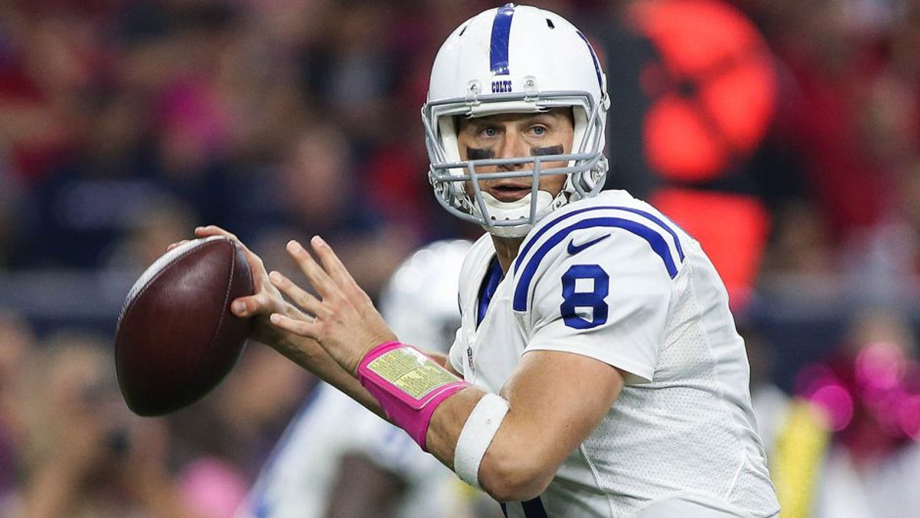 Oct 8, 2015; Houston, TX, USA; Indianapolis Colts quarterback Matt Hasselbeck (8) attempts a pass during the game against the Houston Texans at NRG Stadium. Mandatory Credit: Troy Taormina-USA TODAY Sports