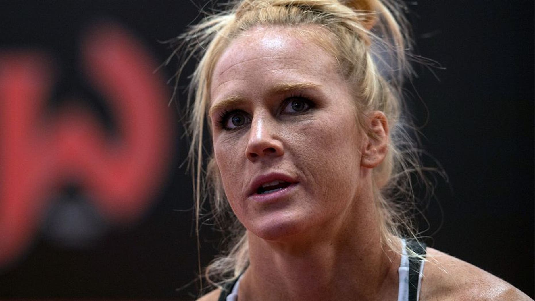 ALBUQUERQUE, NM - OCTOBER 30: Holly Holm talks with her coach during her training at Jackson's Mixed Martial Arts & Fitness on October 30, 2015 in Albuquerque, New Mexico. (Photo by Brandon Magnus/Zuffa LLC/Zuffa LLC via Getty Images)