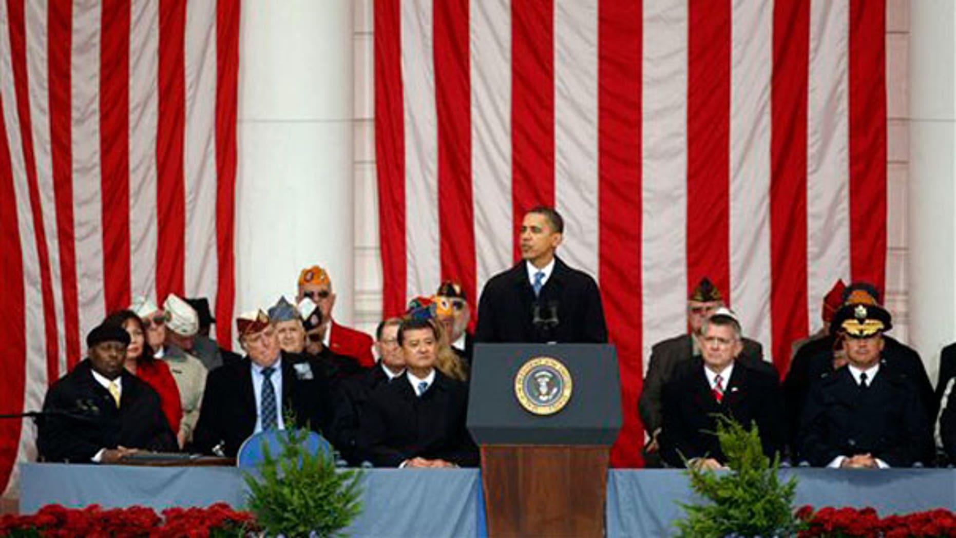 Nov. 11: President Obama speaks during the National Veterans Day Observance at Arlington National Cemetery in Arlington, Va. (AP).