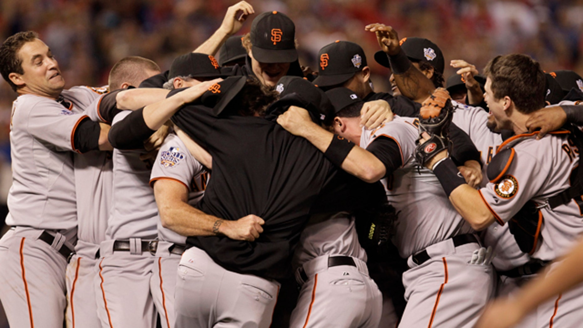 Nov. 1: San Francisco Giants celebrate after winning the World Series in Game 5 of baseball's World Series against the Texas Rangers in Arlington, Texas.