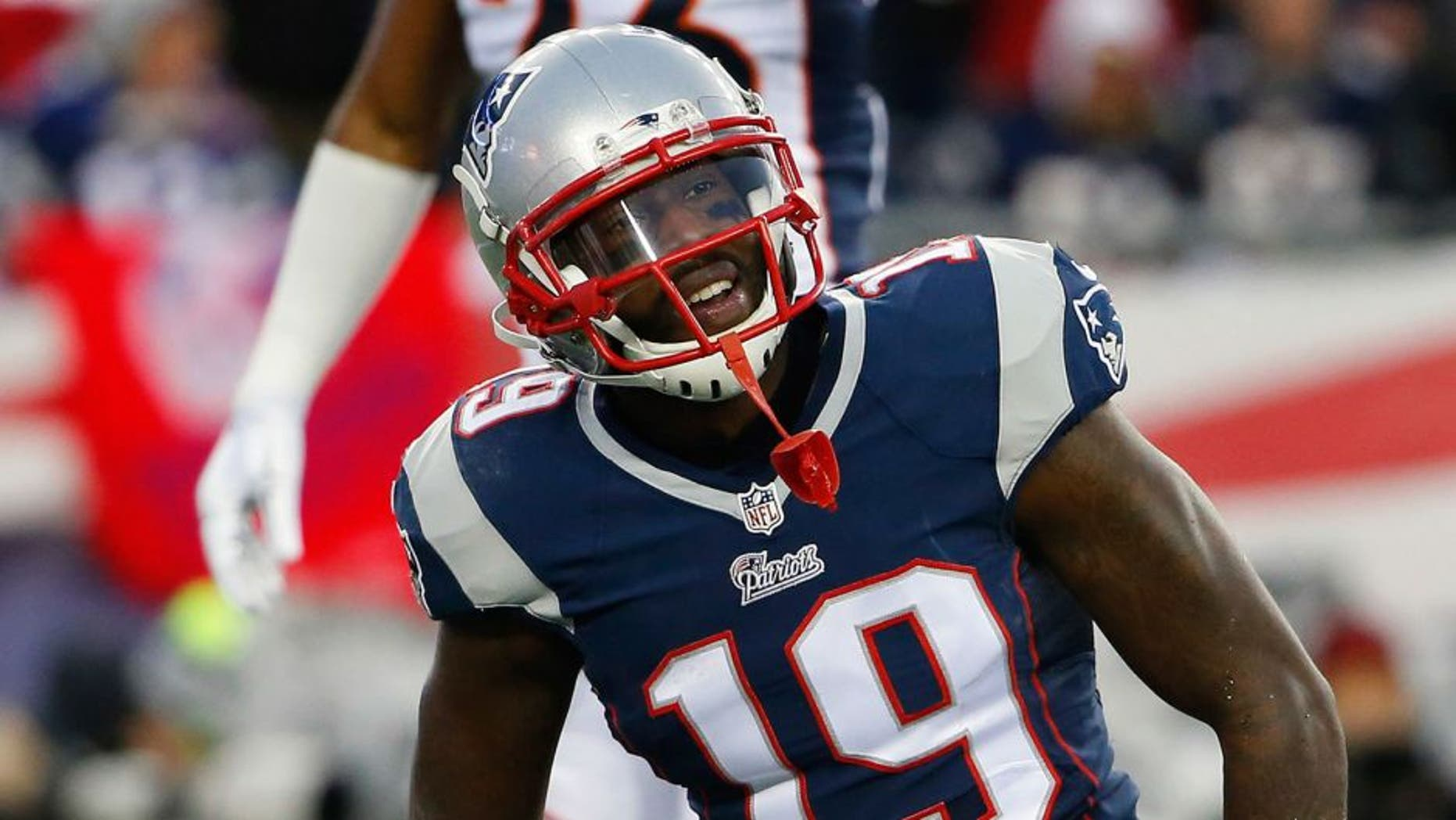 Nov 2, 2014; Foxborough, MA, USA; New England Patriots wide receiver Brandon LaFell (19) smiles during the first quarter against the Denver Broncos at Gillette Stadium. Mandatory Credit: Winslow Townson-USA TODAY Sports