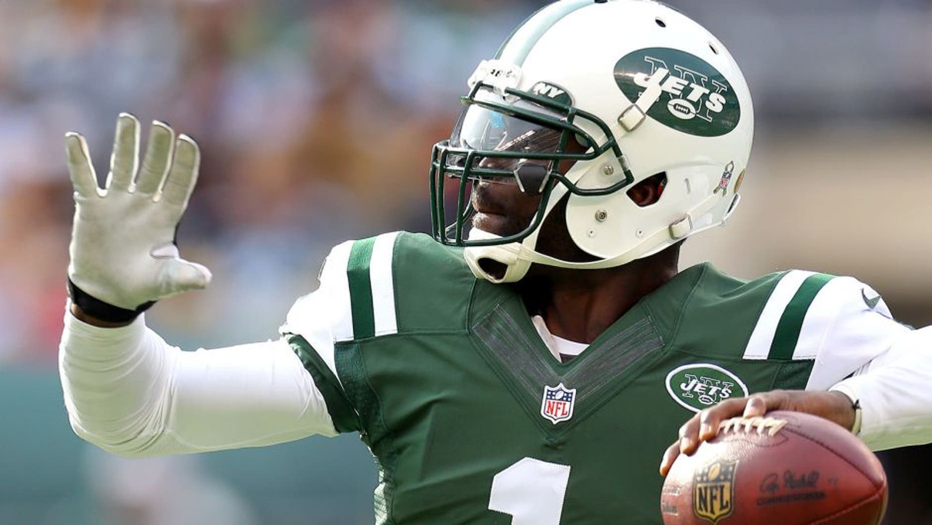 Nov 9, 2014; East Rutherford, NJ, USA; New York Jets quarterback Michael Vick (1) passes against the Pittsburgh Steelers during the first quarter at MetLife Stadium. Mandatory Credit: Adam Hunger-USA TODAY Sports