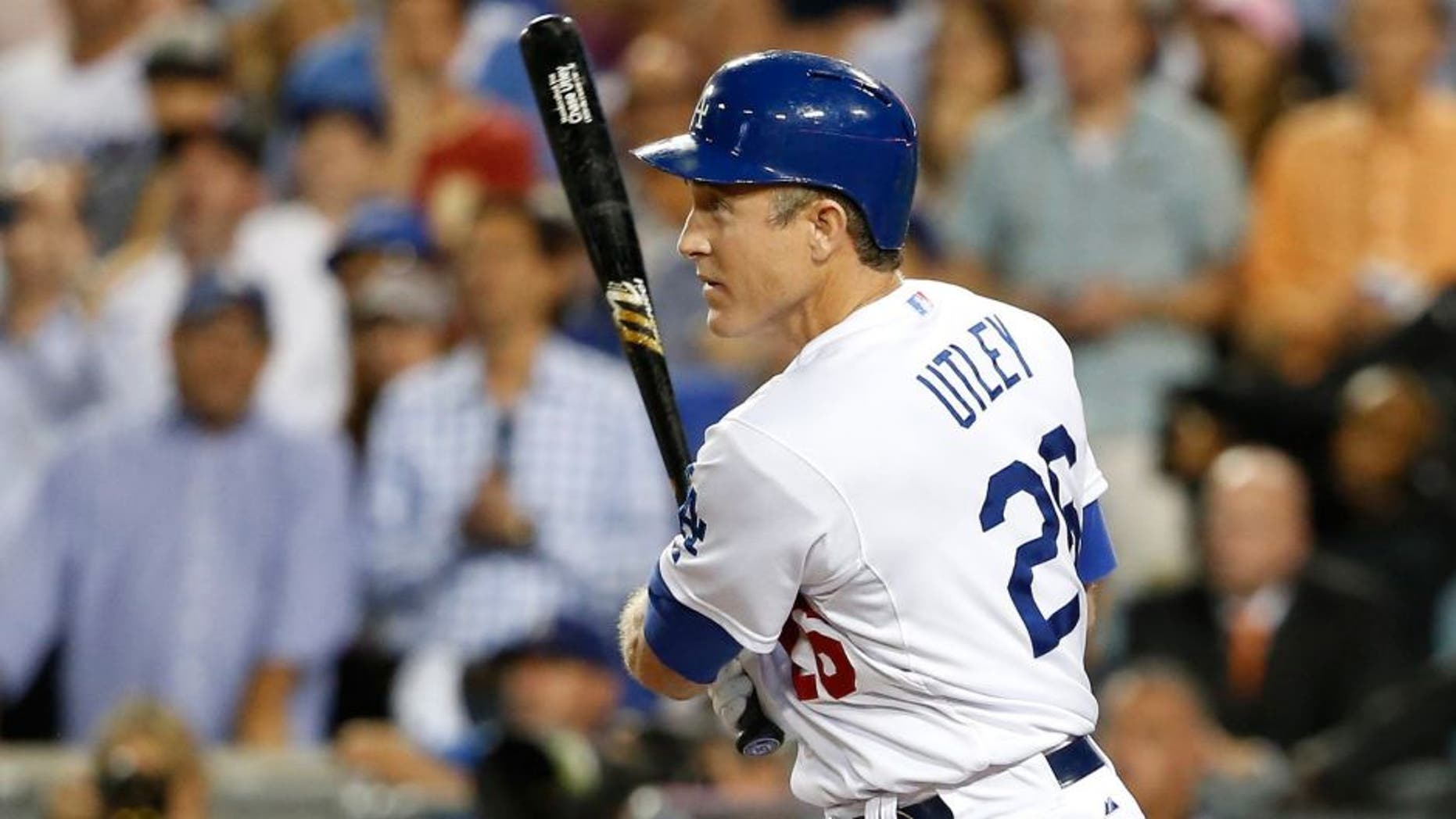 LOS ANGELES, CA - OCTOBER 15: Chase Utley #26 of the Los Angeles Dodgers flies out in the ninth inning while taking on the New York Mets in game five of the National League Division Series at Dodger Stadium on October 15, 2015 in Los Angeles, California. (Photo by Sean M. Haffey/Getty Images)