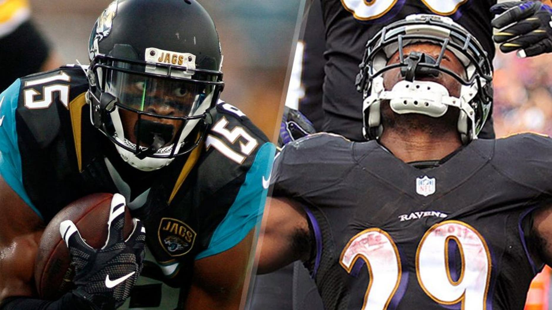 Aug 14, 2015; Jacksonville, FL, USA; Jacksonville Jaguars wide receiver Allen Robinson (15) runs in the first quarter of a preseason NFL football game against the Pittsburgh Steelers at EverBank Field. Mandatory Credit: Phil Sears-USA TODAY Sports Sep 28, 2014; Baltimore, MD, USA; Baltimore Ravens running back Justin Forsett (29) celebrates after scoring a touchdown in the second quarter against the Carolina Panthers at M&T Bank Stadium. Mandatory Credit: Evan Habeeb-USA TODAY Sports