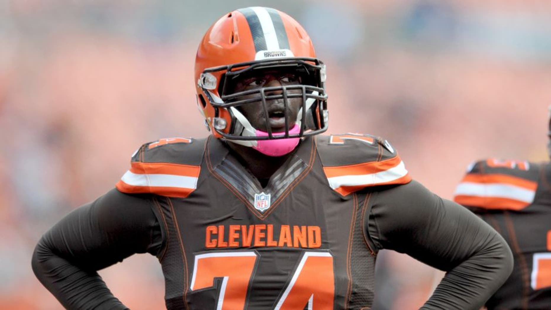 CLEVELAND, OH - OCTOBER 18, 2015: Offensive lineman Cameron Erving #74 of the Cleveland Browns walks onto the field prior to a game against the Denver Broncos on October 18, 2015 at FirstEnergy Stadium in Cleveland, Ohio. Denver won 26-23 in overtime. (Photo by Nick Cammett/Diamond Images/Getty Images)