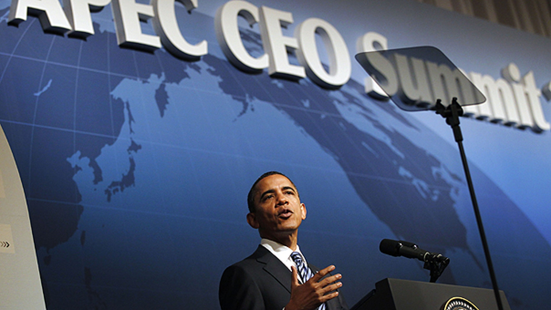Nov. 13: President Obama speaks at the CEO business summit at the APEC summit in Yokohama.