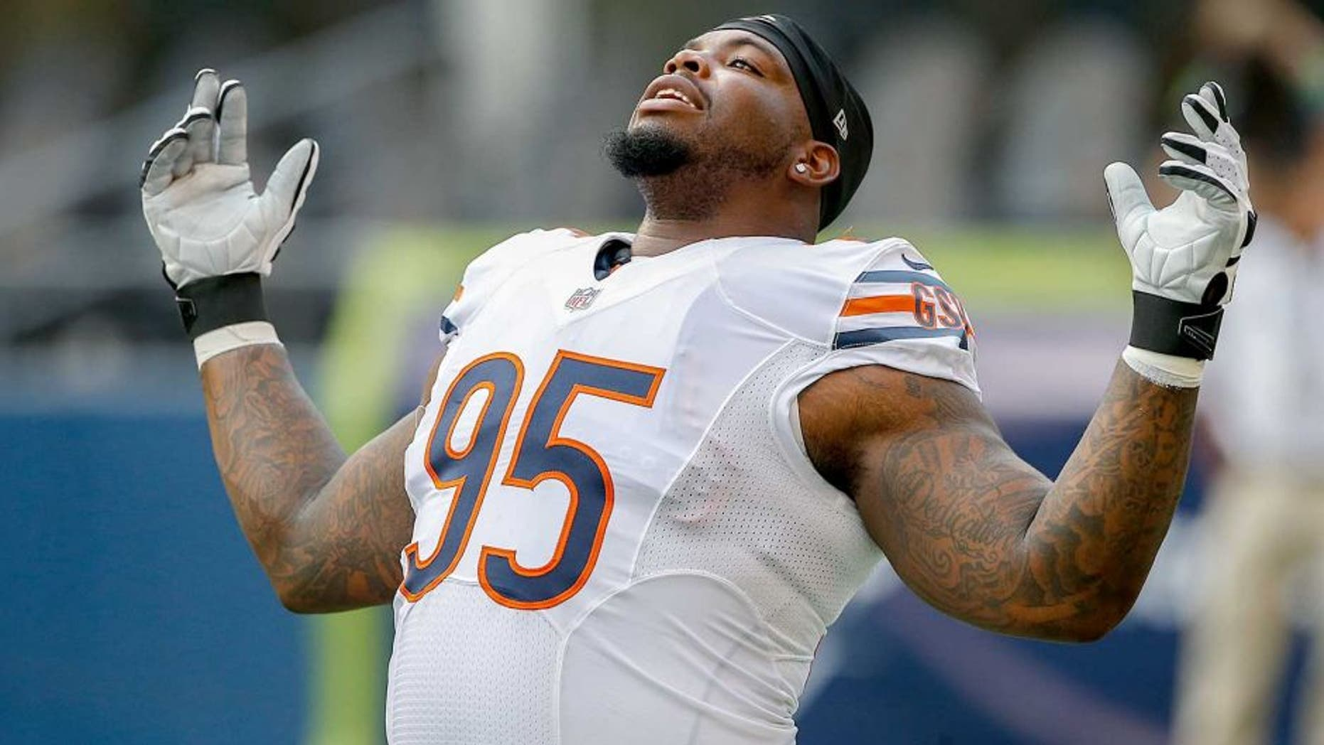SEATTLE, WA - AUGUST 22: Defensive tackle Ego Ferguson #95 of the Chicago Bears warms up prior to the game against the Seattle Seahawks at CenturyLink Field on August 22, 2014 in Seattle, Washington. (Photo by Otto Greule Jr/Getty Images)