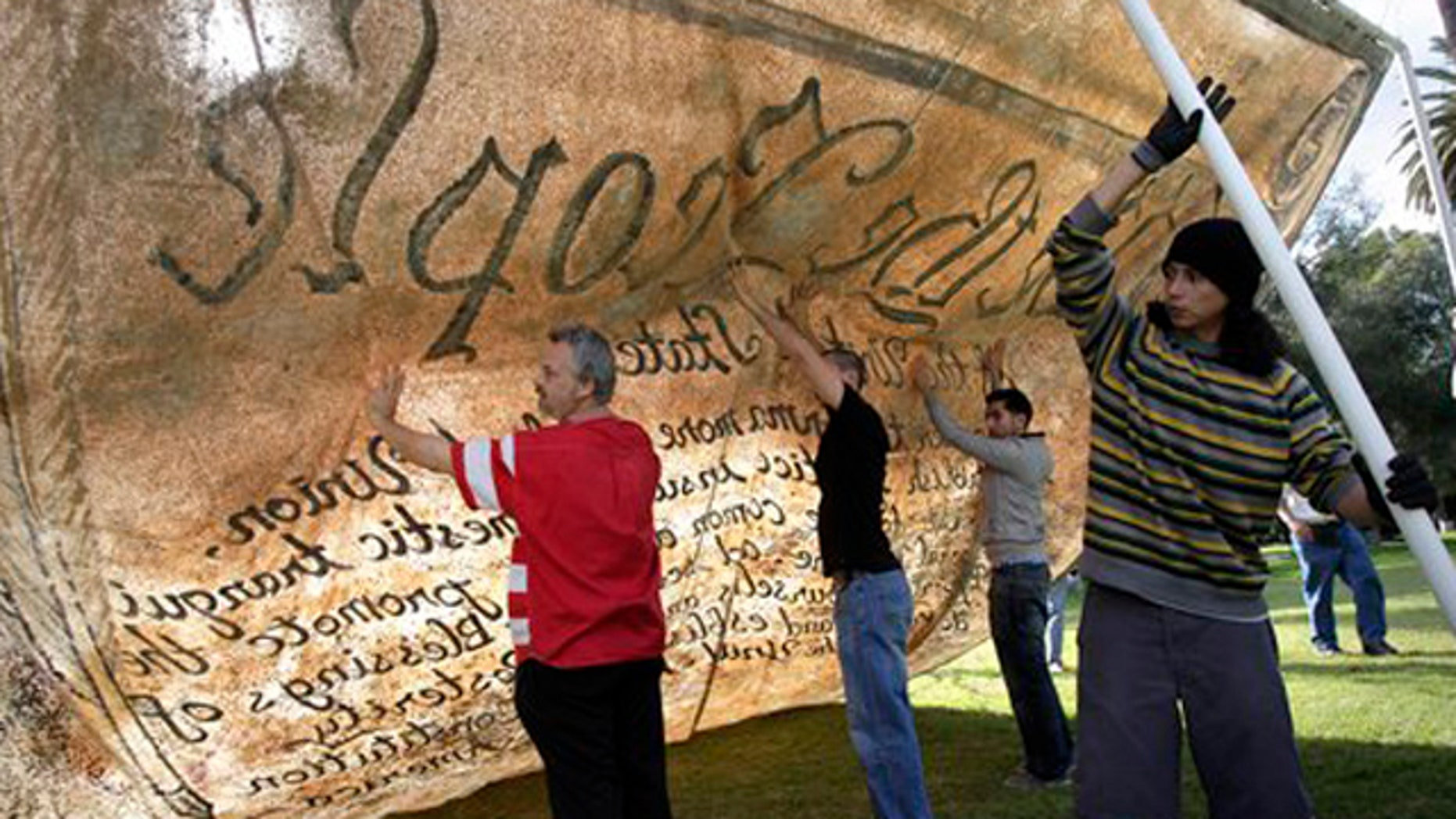 December 29, 2011: Occupy activists test a float made with a copy of the Constitution in Pasadena, Calif.